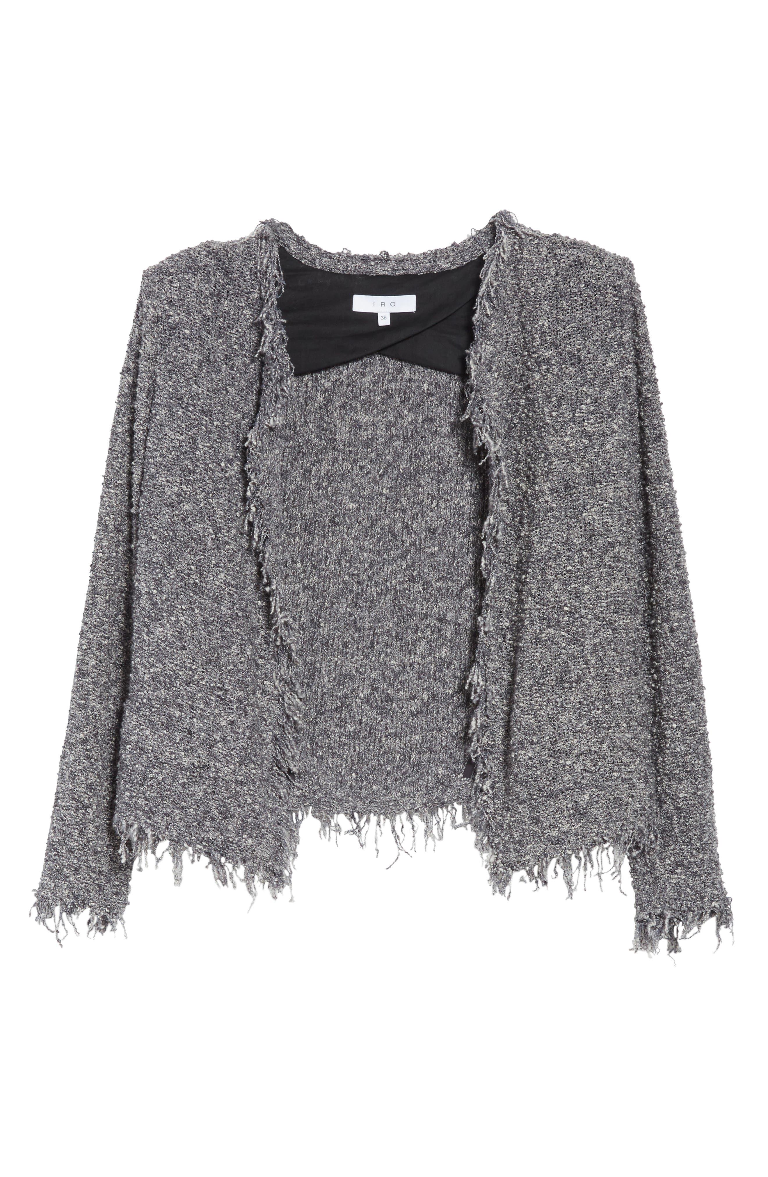 Shavanix Tweed Jacket,                             Alternate thumbnail 6, color,                             Dark Grey