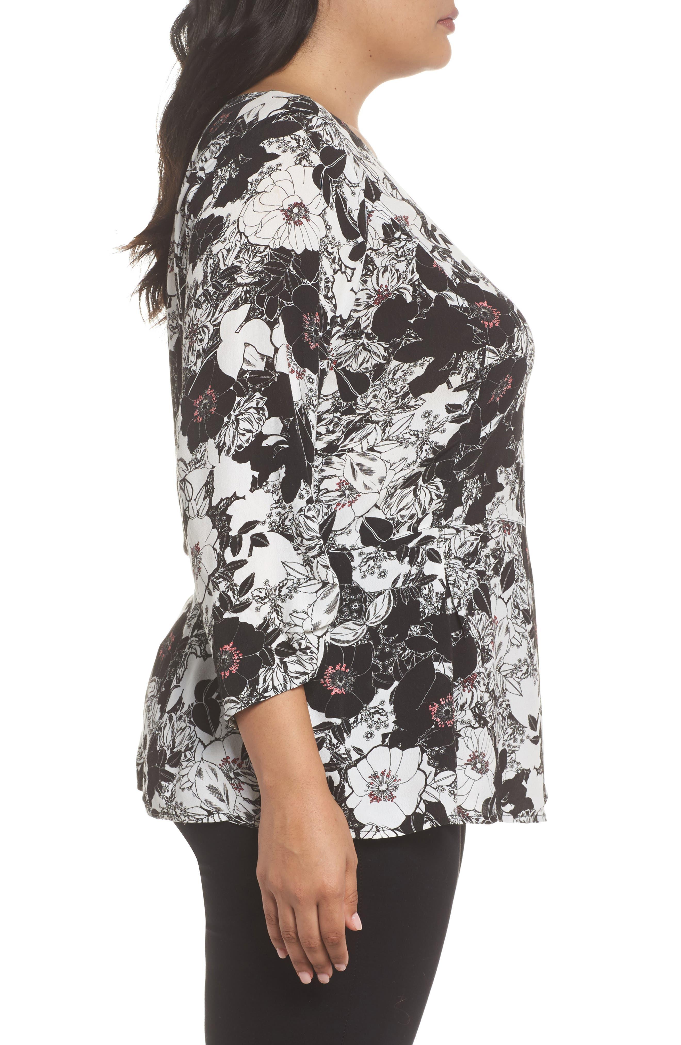 Alternate Image 3  - Sejour Smocked Sleeve Top (Plus Size)