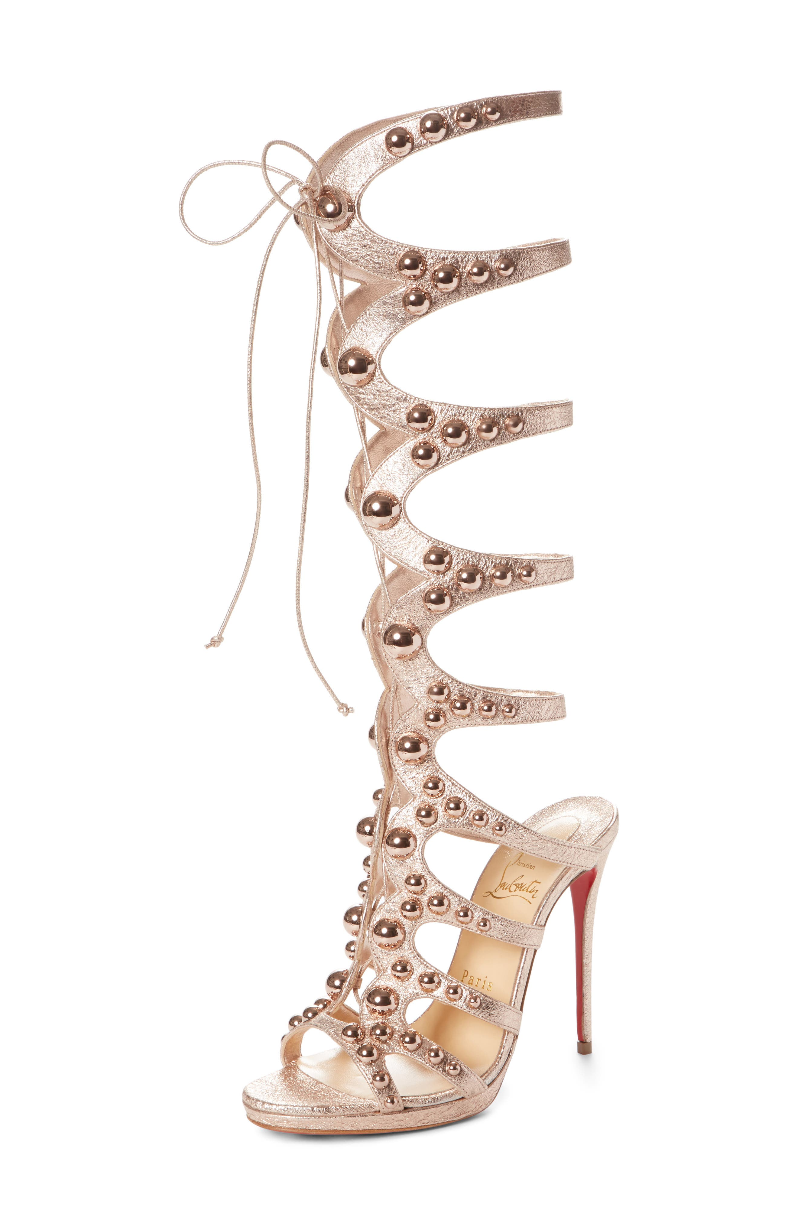 Amazoutiful Ghillie Cage Sandal,                         Main,                         color, Rose Gold