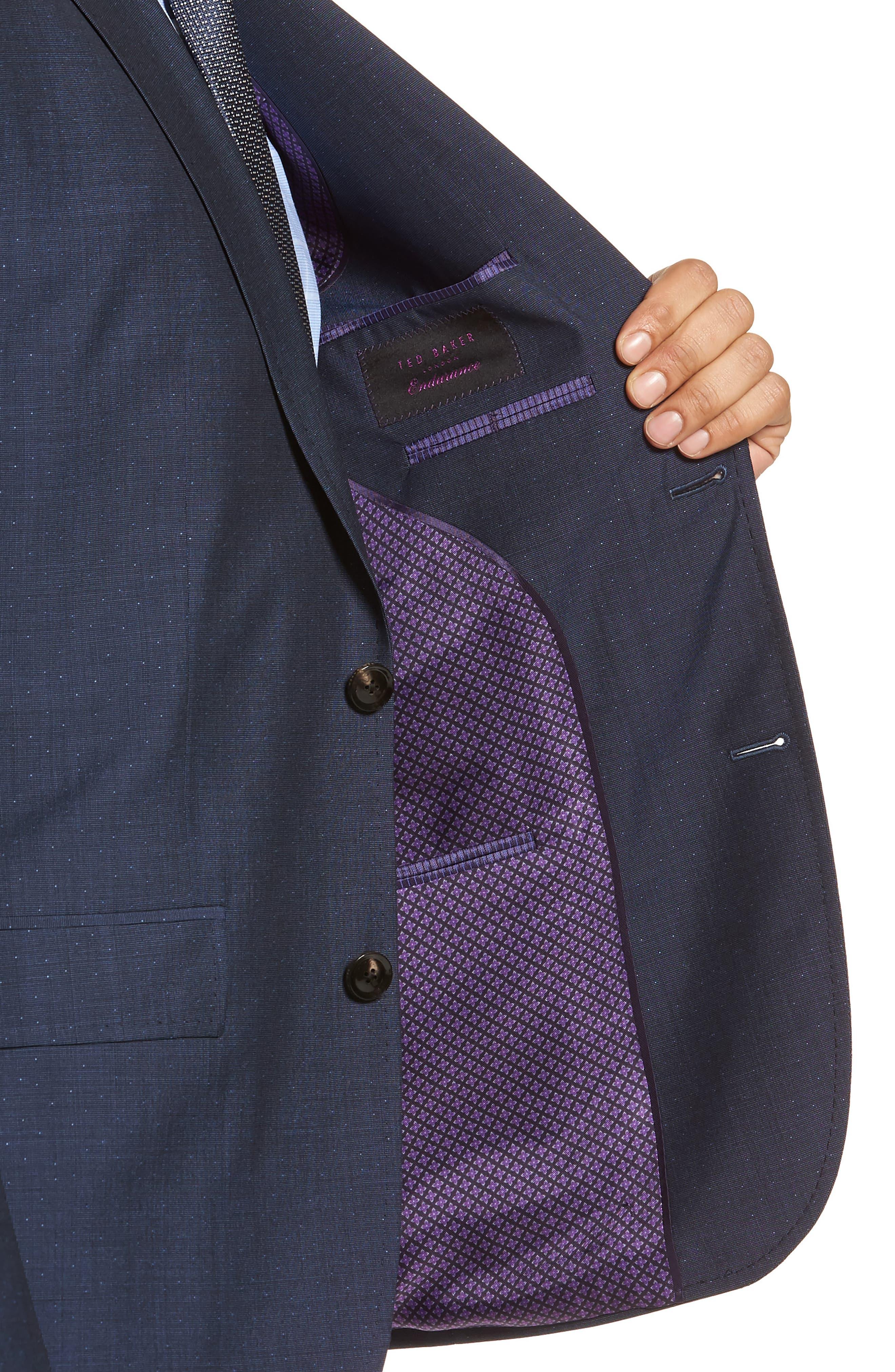 Roger Extra Slim Fit Dot Wool Suit,                             Alternate thumbnail 4, color,                             Dark Blue