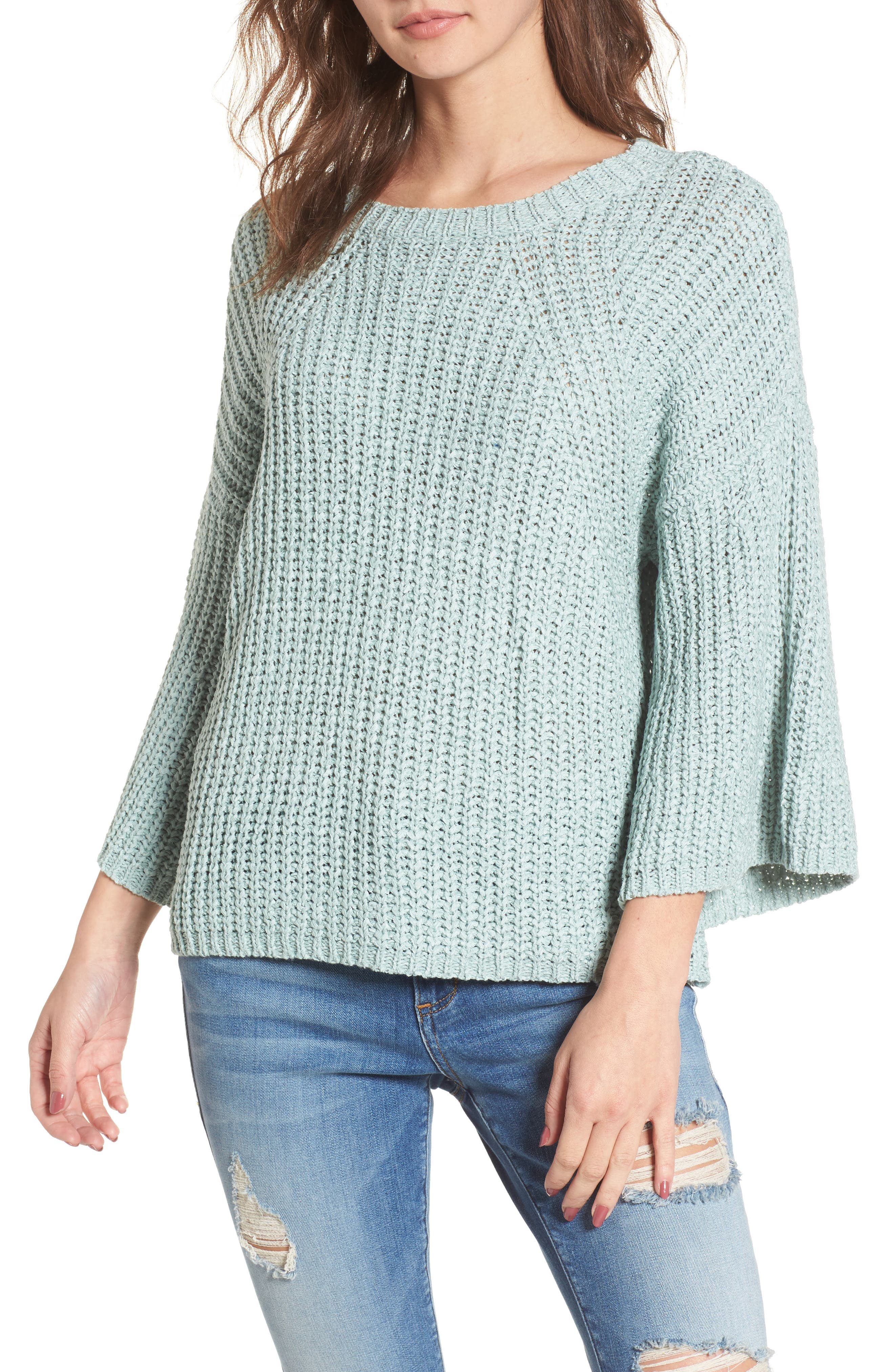Bell Sleeve Sweater,                         Main,                         color, Teal Surf