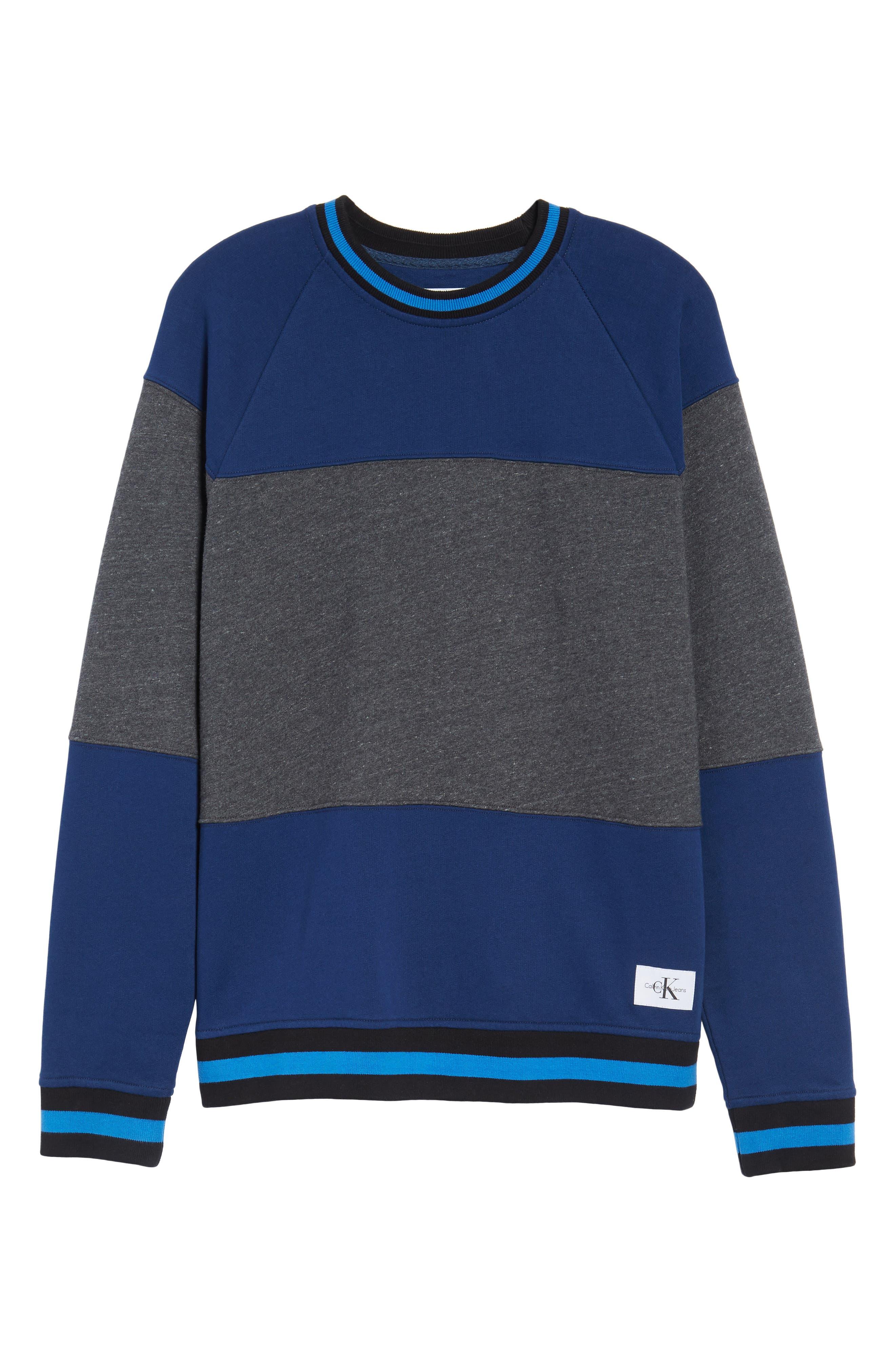 Tipped Colorblock Sweatshirt,                             Alternate thumbnail 3, color,                             Night Rider