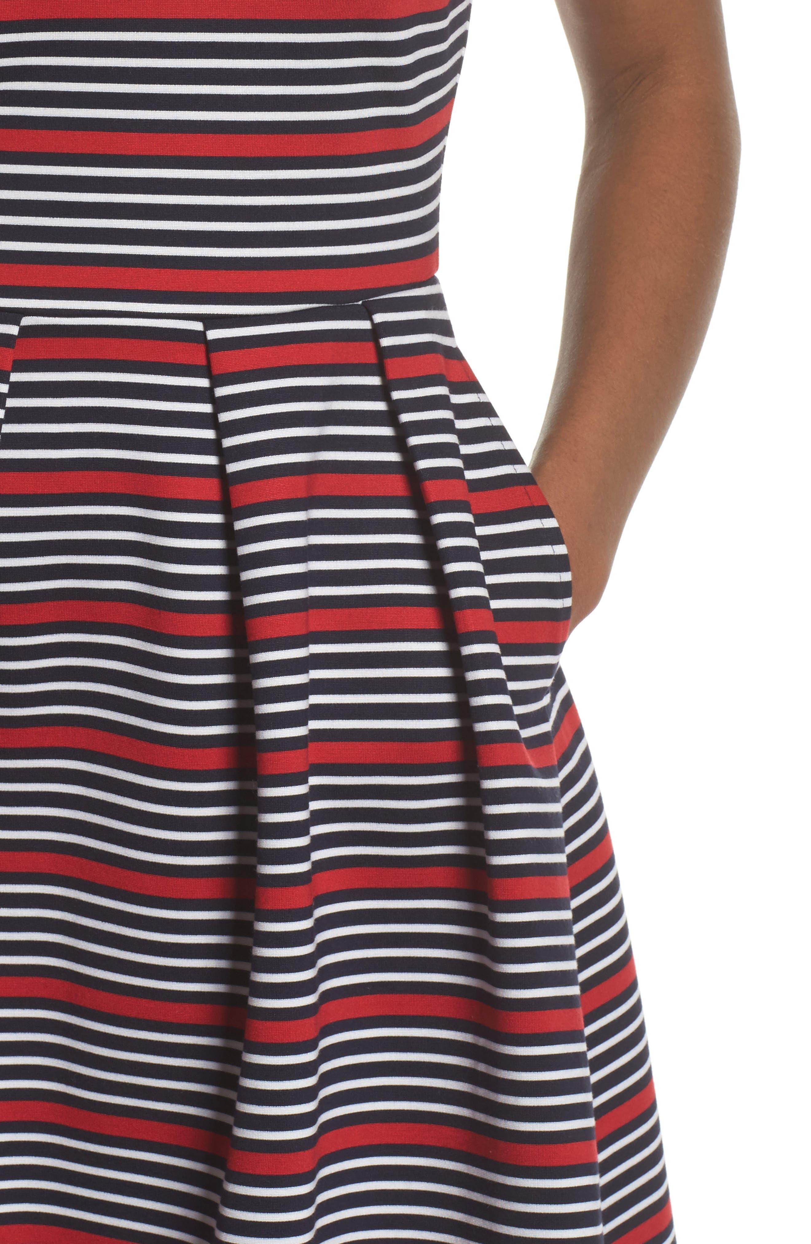 Scarlette Stripe Fit & Flare Dress,                             Alternate thumbnail 4, color,                             Navy/ Red/ White Stripe
