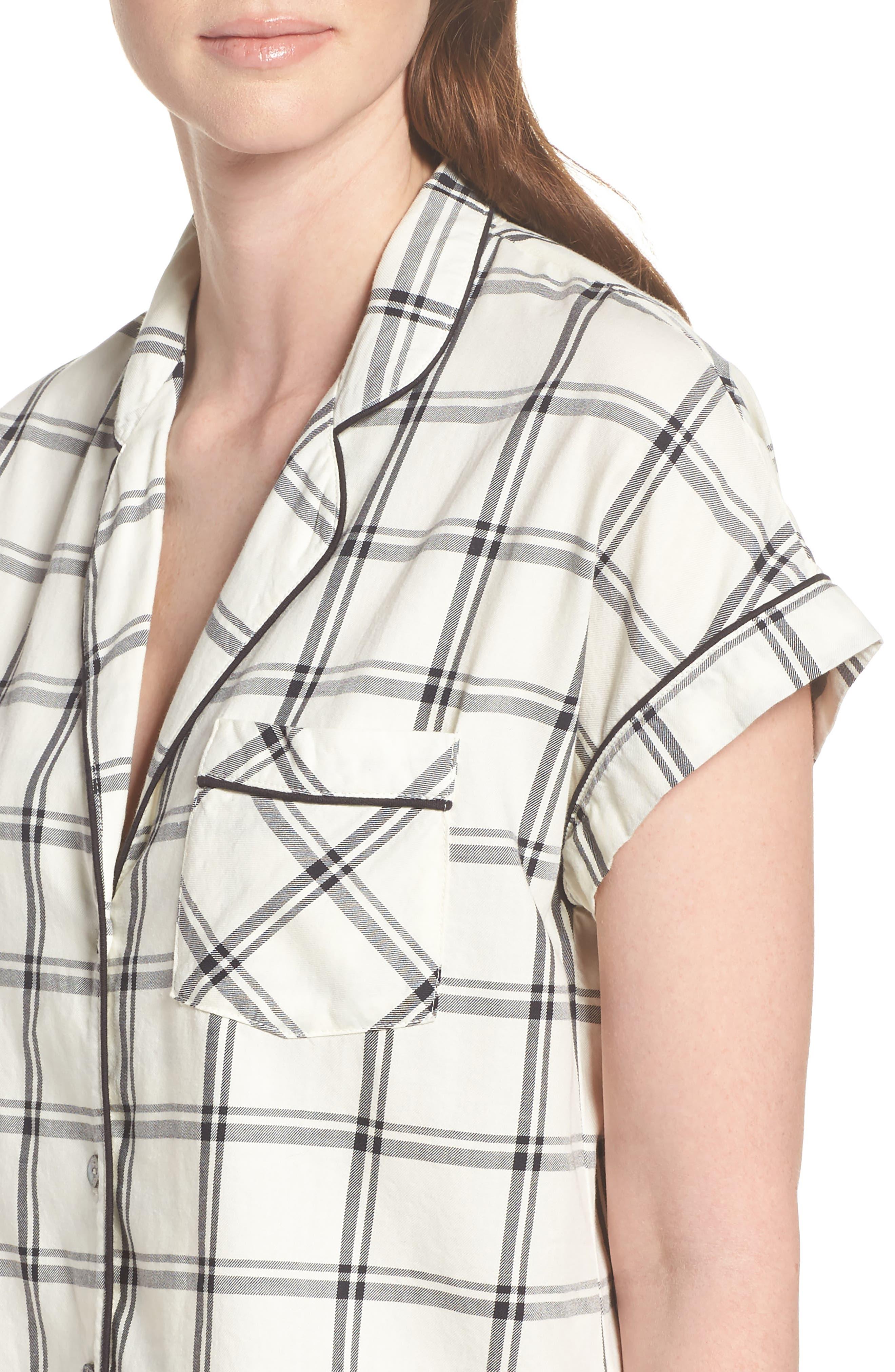 Amelia Short Pajamas,                             Alternate thumbnail 5, color,                             Cream/ Black