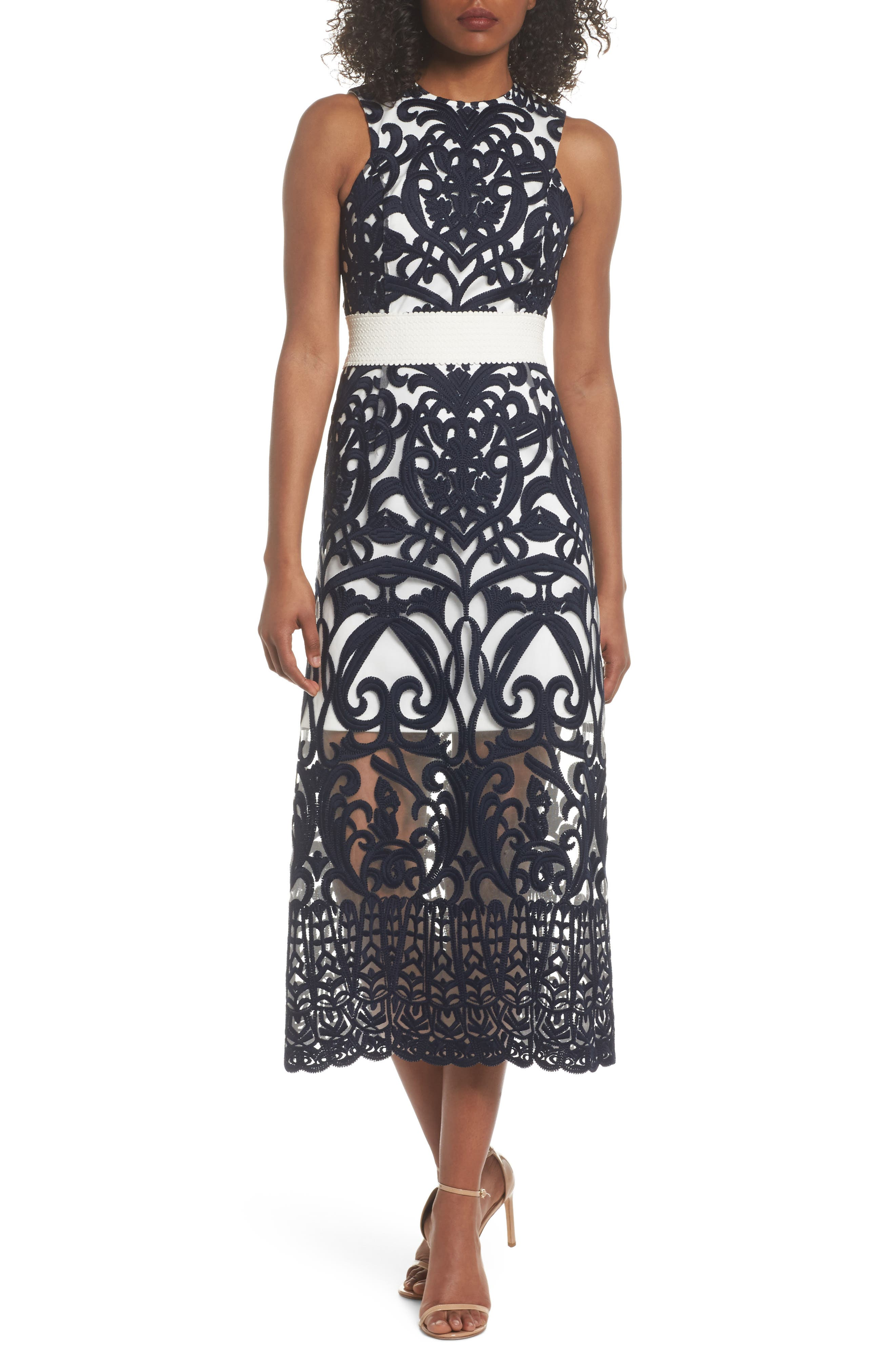 Rosabel Embroidered Midi Dress,                         Main,                         color, Navy/ Ivory