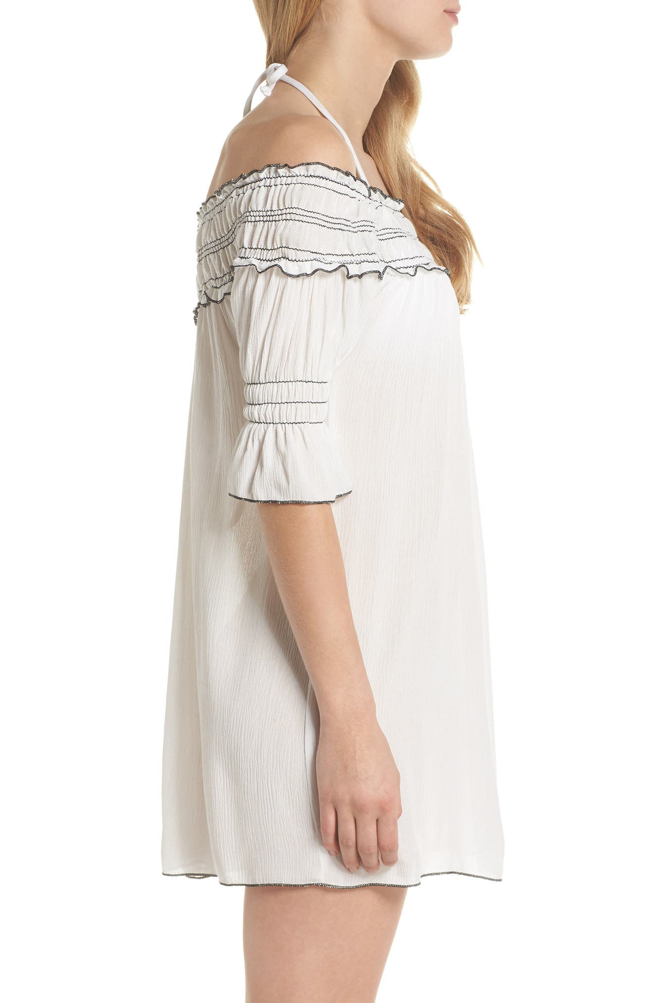 Nightingale Off the Shoulder Cover-Up Dress,                             Alternate thumbnail 3, color,                             White