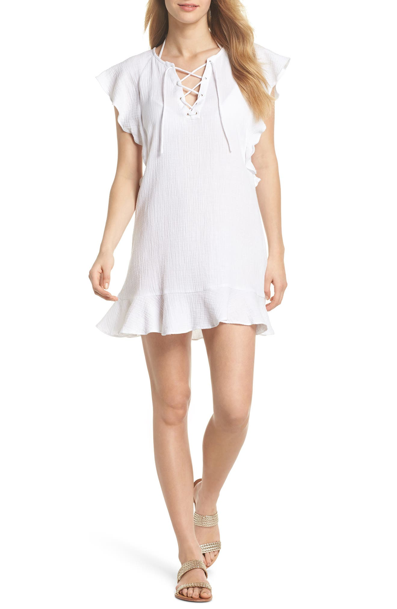 Fia Cover-Up Dress,                             Main thumbnail 1, color,                             White