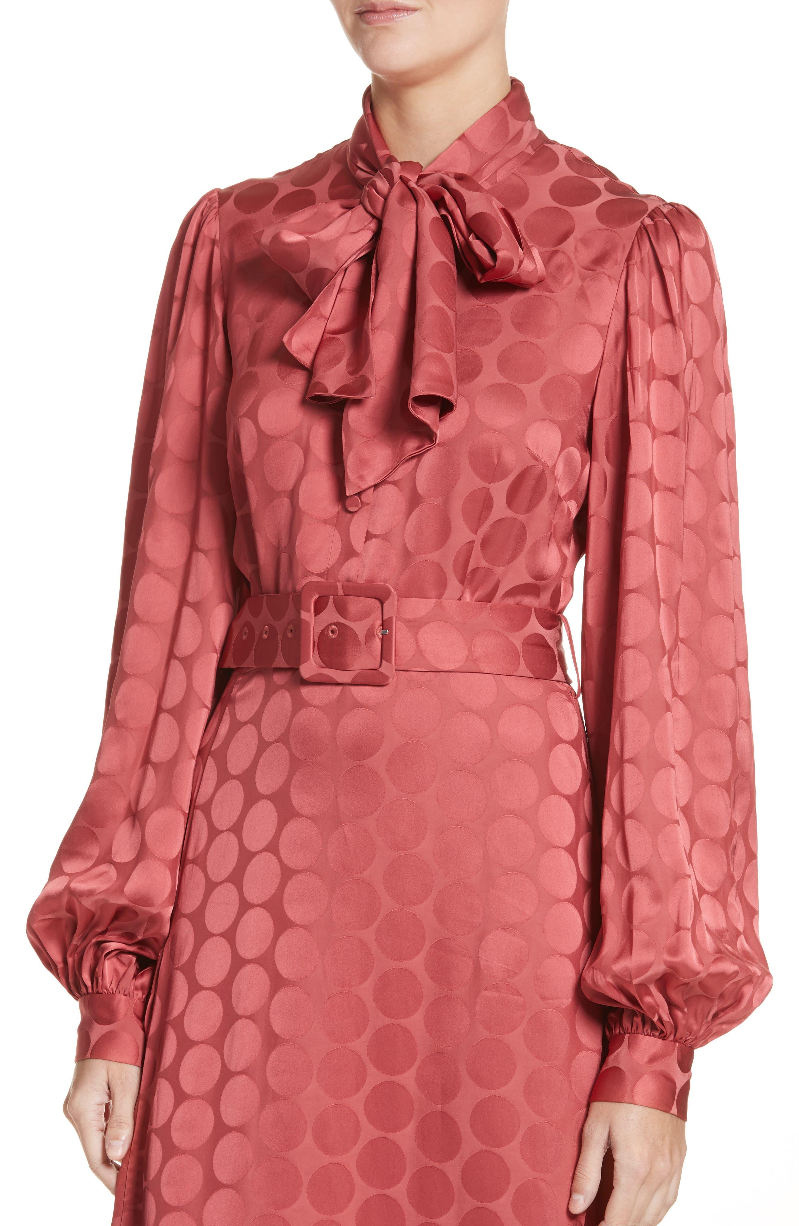 Tonal Dot Tie Neck Midi Dress,                             Alternate thumbnail 4, color,                             Coral