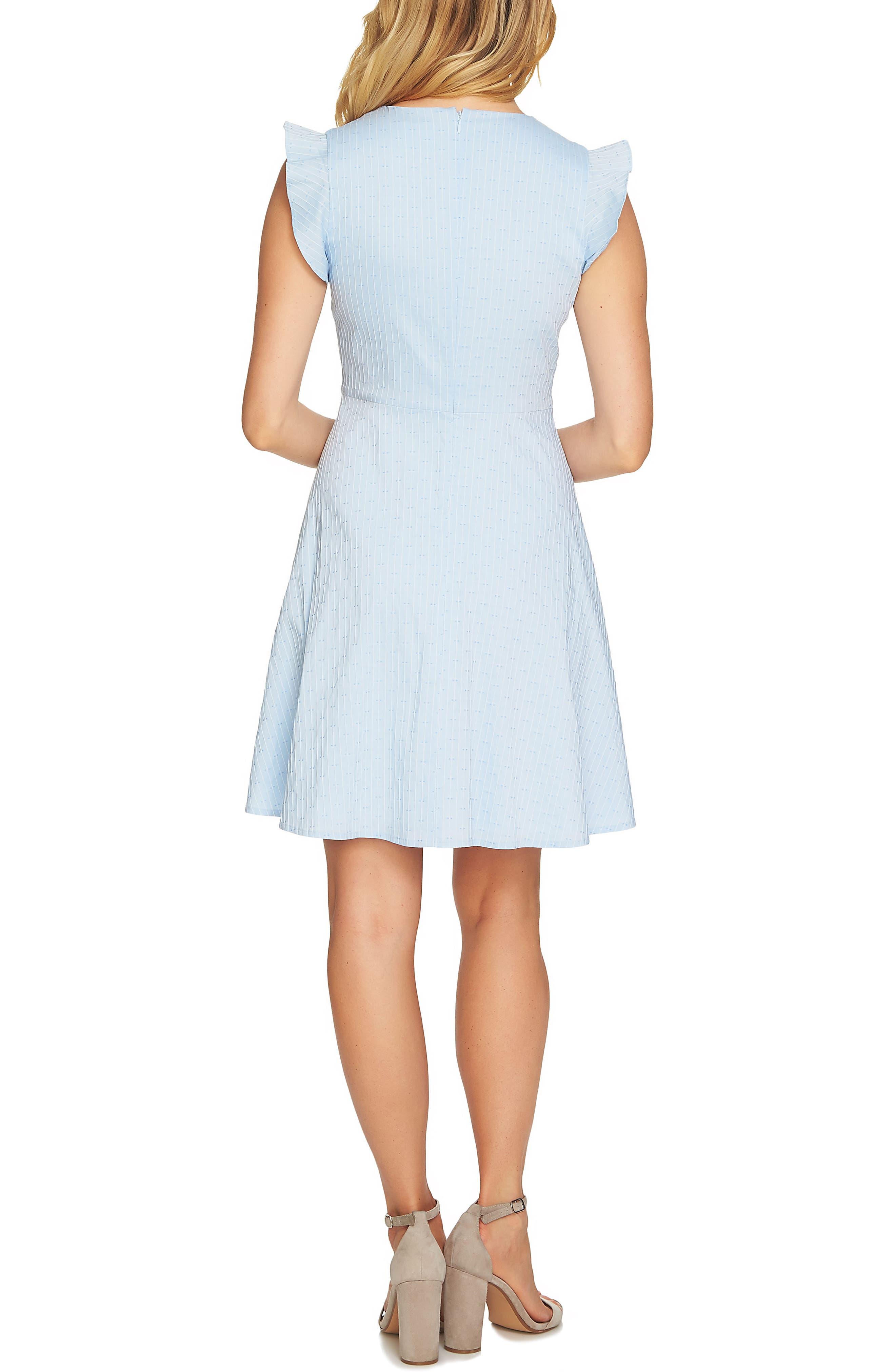 Flutter Sleeve Pintuck Dress,                             Alternate thumbnail 2, color,                             Bluebird