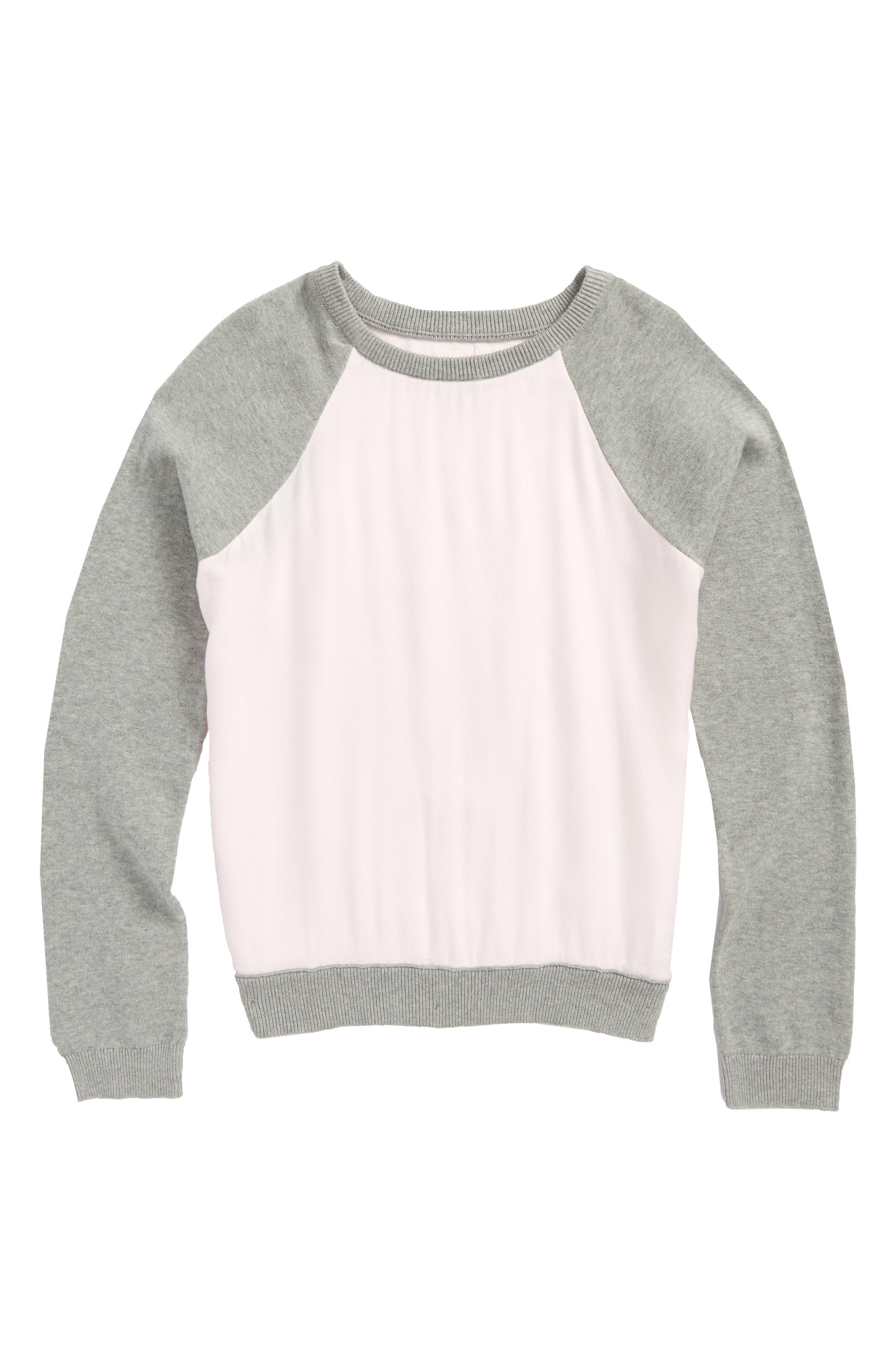 Knit to Woven Sweatshirt,                             Main thumbnail 1, color,                             Pink Breath