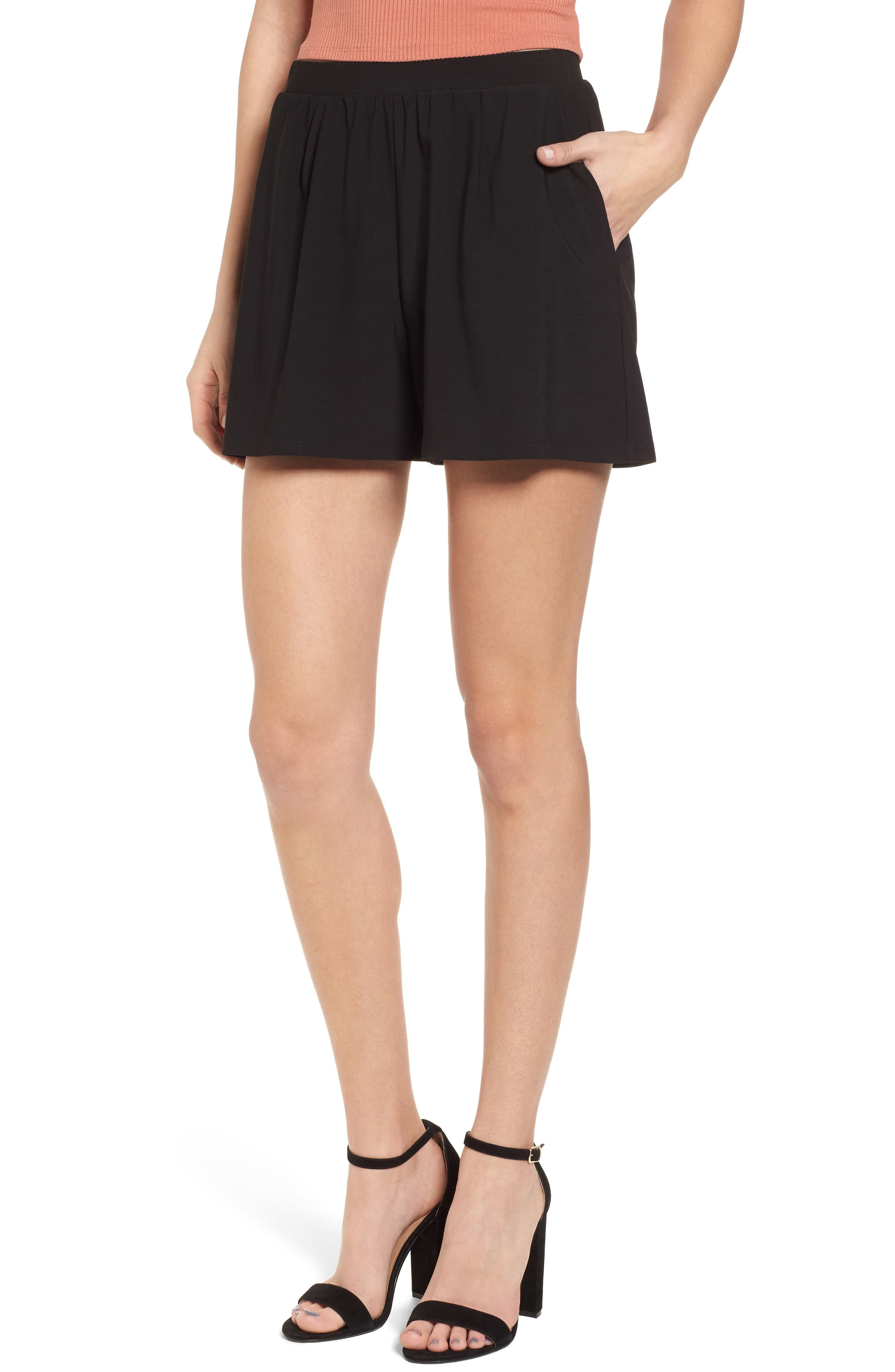 Pleat Front Shorts,                         Main,                         color, Black