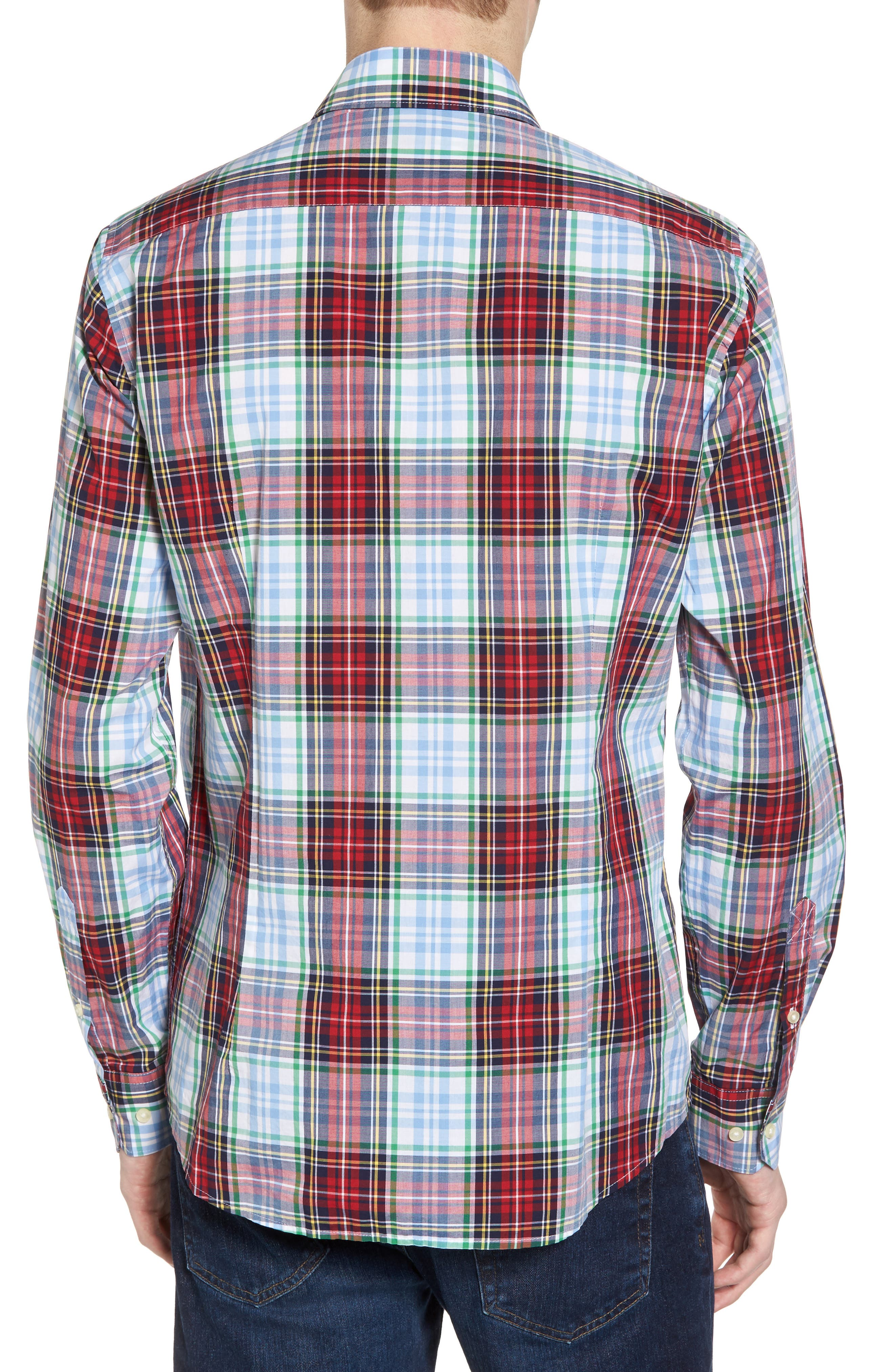 Jeff Trim Fit Plaid Sport Shirt,                             Alternate thumbnail 2, color,                             Red