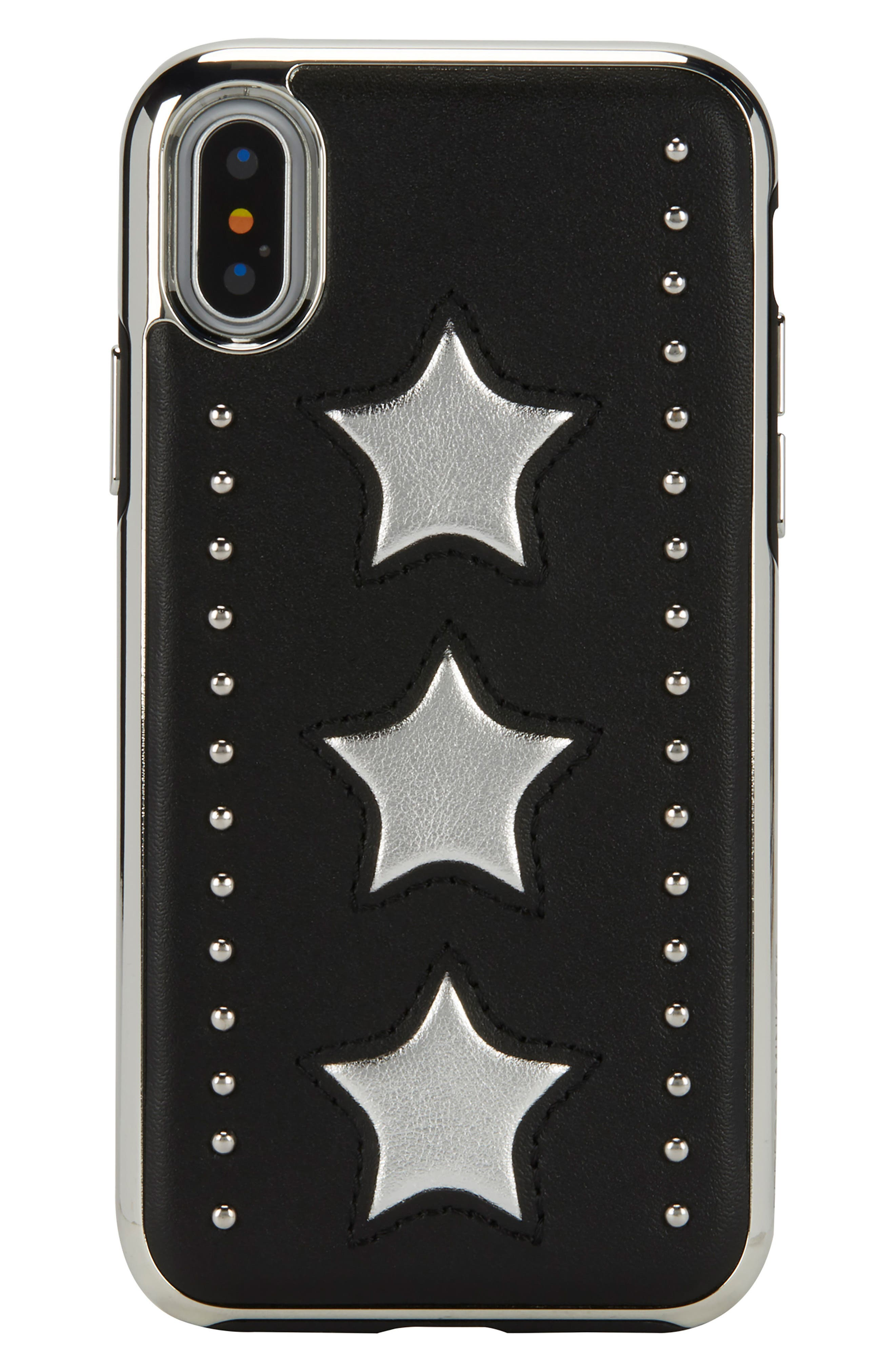 Leather Star iPhone X Case,                             Main thumbnail 1, color,                             Silver/ Black