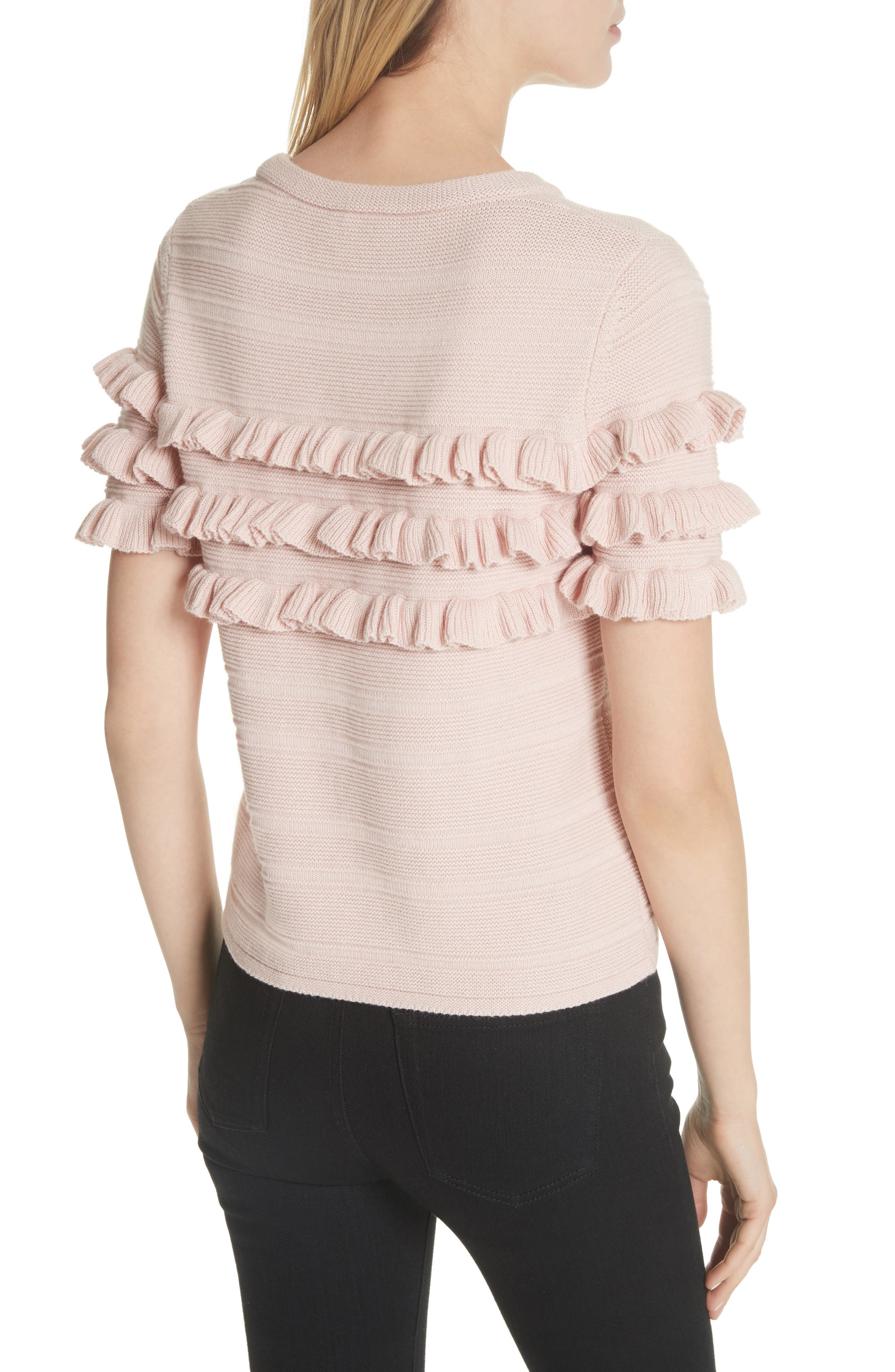 ruffled cotton & cashmere sweater,                             Alternate thumbnail 2, color,                             Cameo Pink