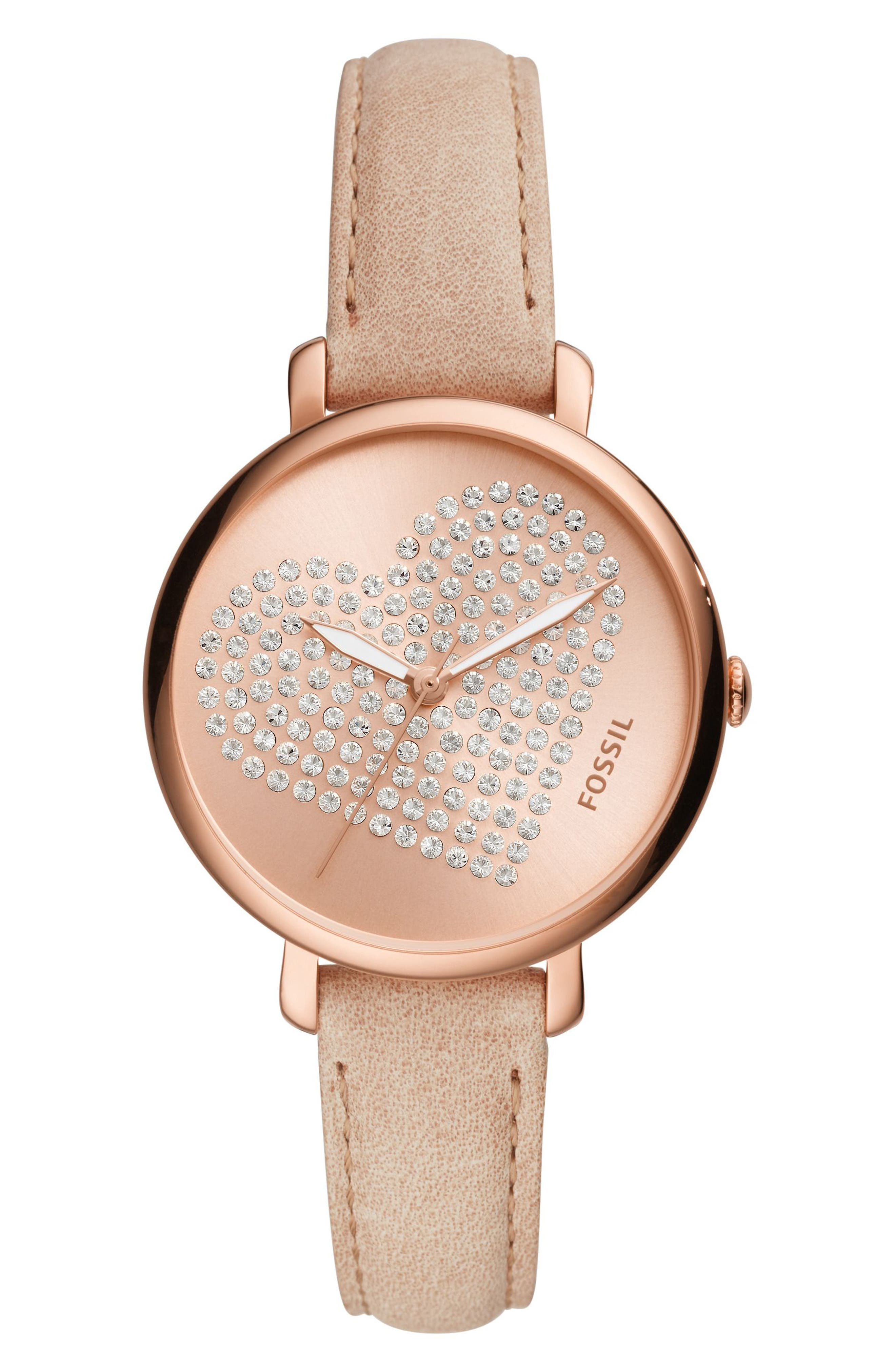 Main Image - Fossil Jacqueline Crystal Heart Leather Strap Watch, 36mm