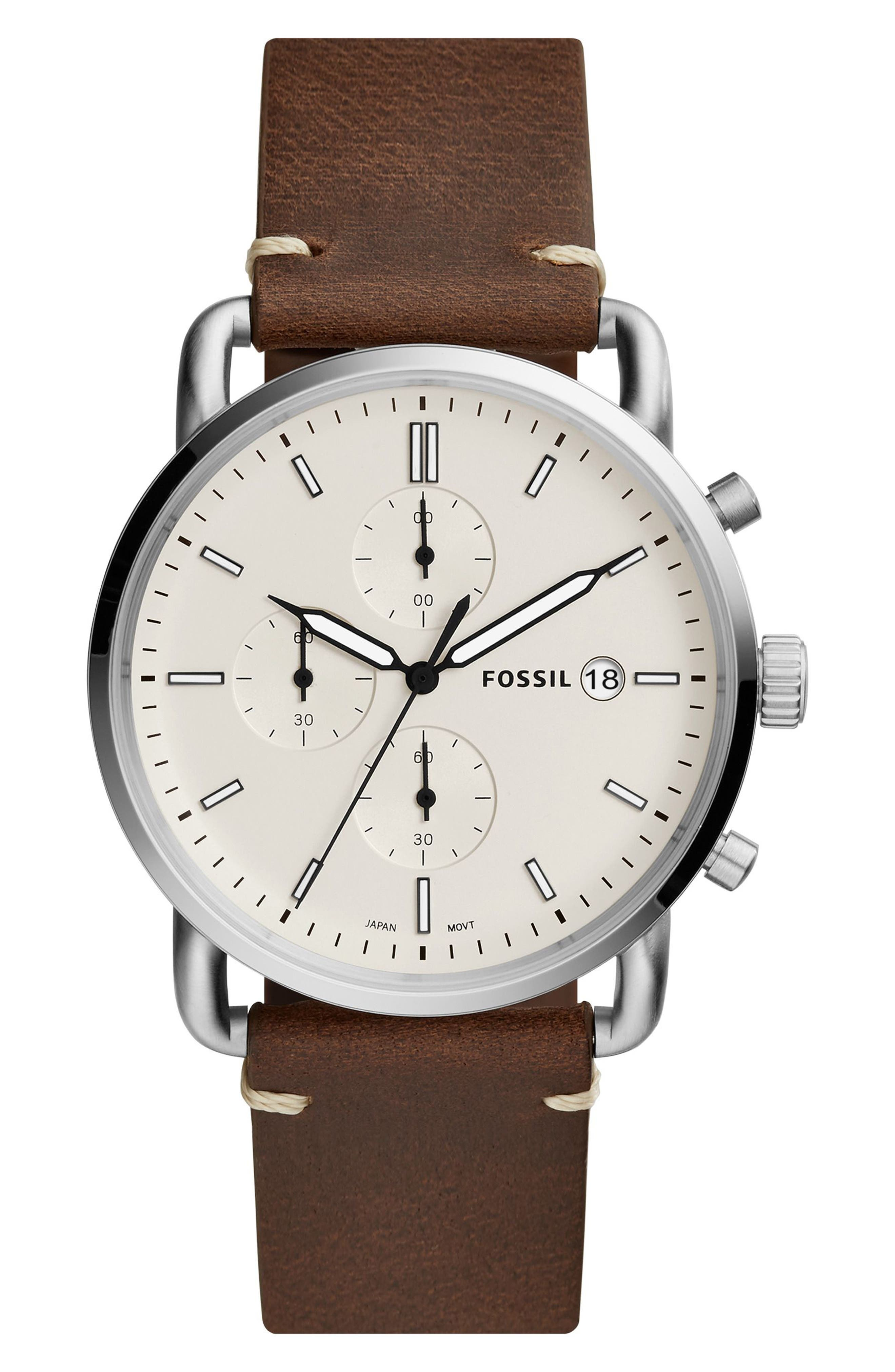 The Commuter Chronograph Leather Strap Watch, 42mm,                         Main,                         color, Brown/ Beige/ Silver