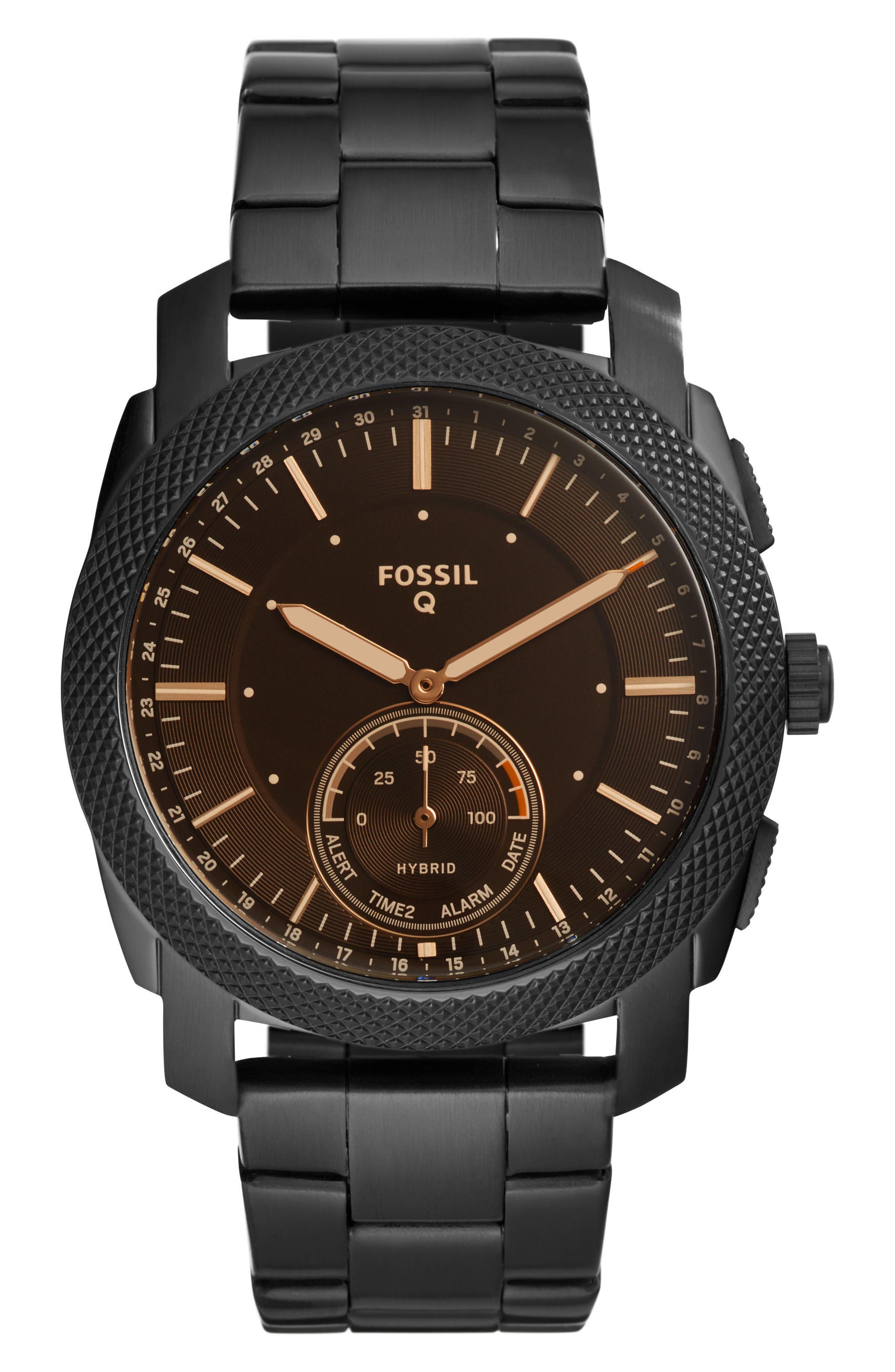 Machine Bracelet Hybrid Smart Watch, 45mm,                         Main,                         color, Black