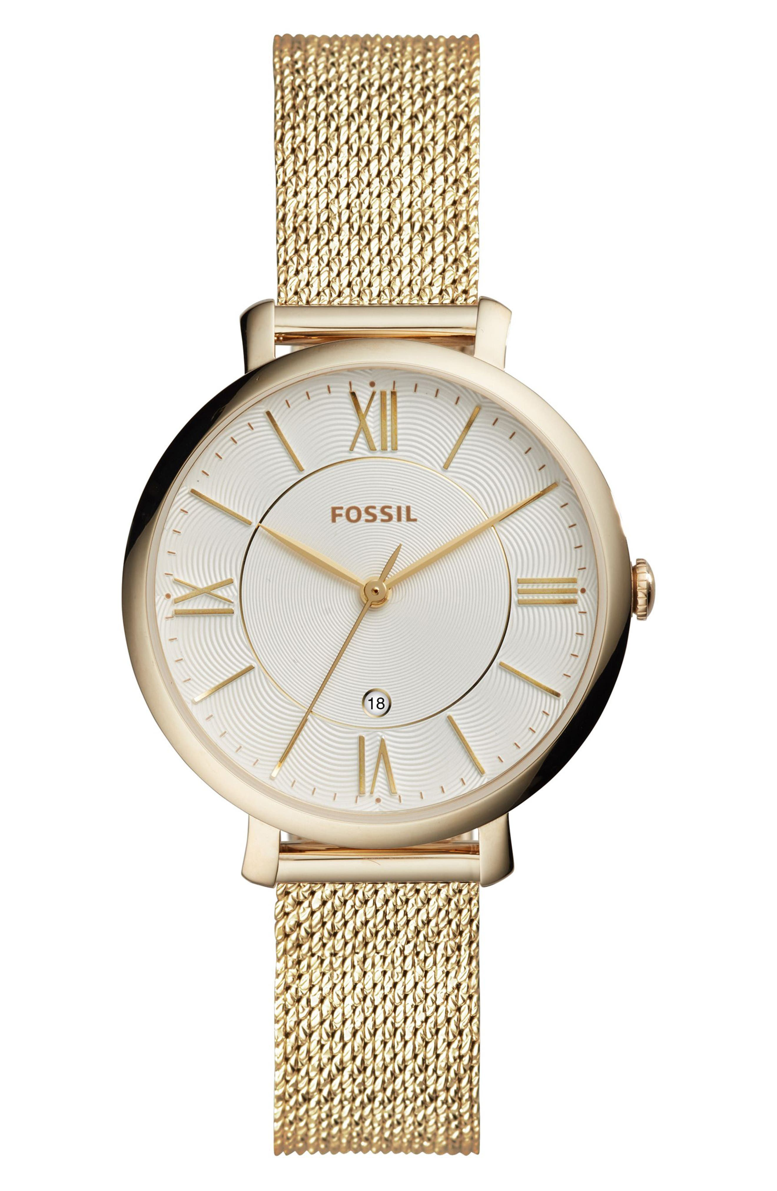 Jacqueline Mesh Strap Watch, 36mm,                         Main,                         color, Gold/ Silver/ Gold