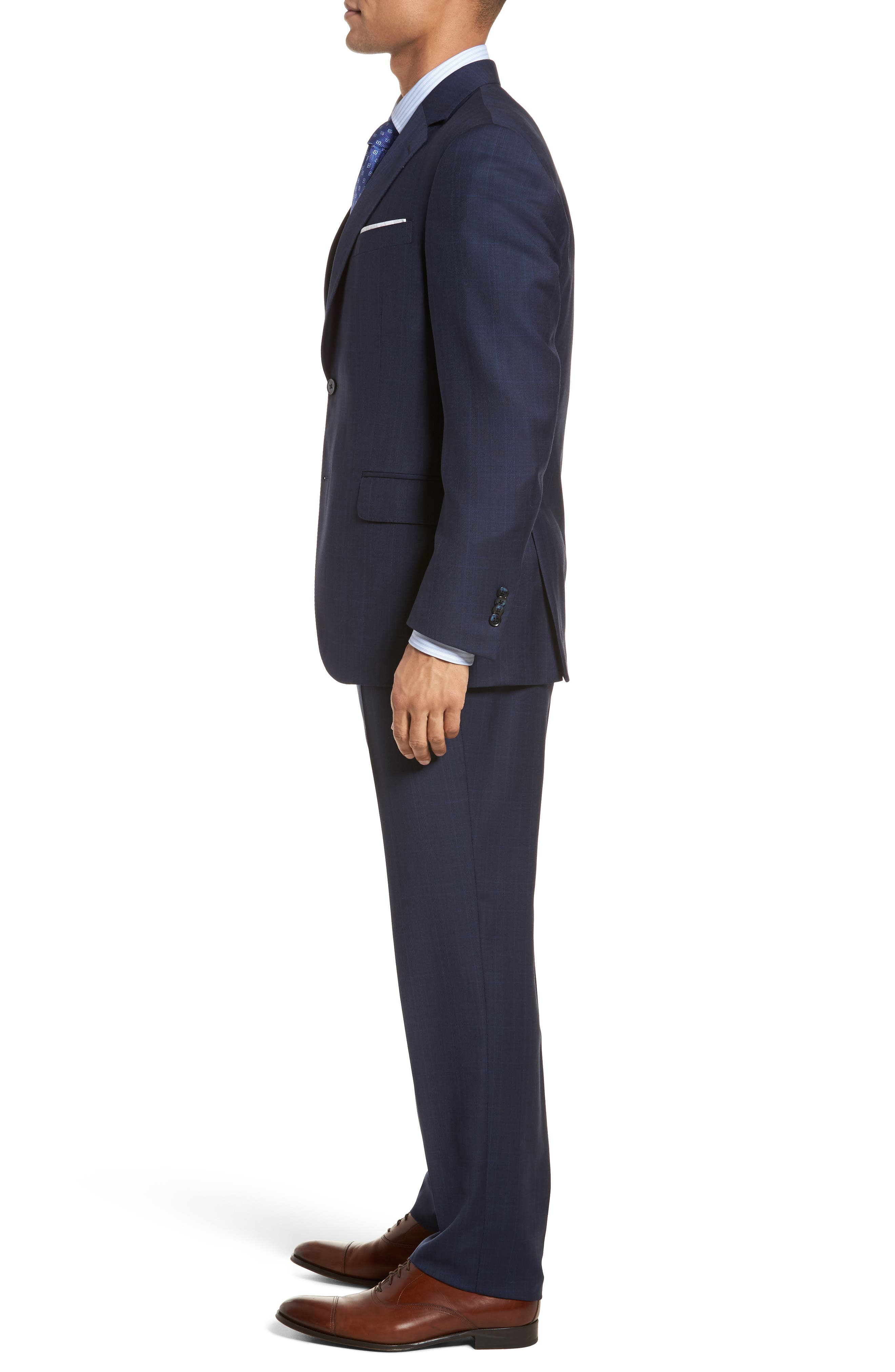 Classic Fit Plaid Wool Suit,                             Alternate thumbnail 3, color,                             Navy