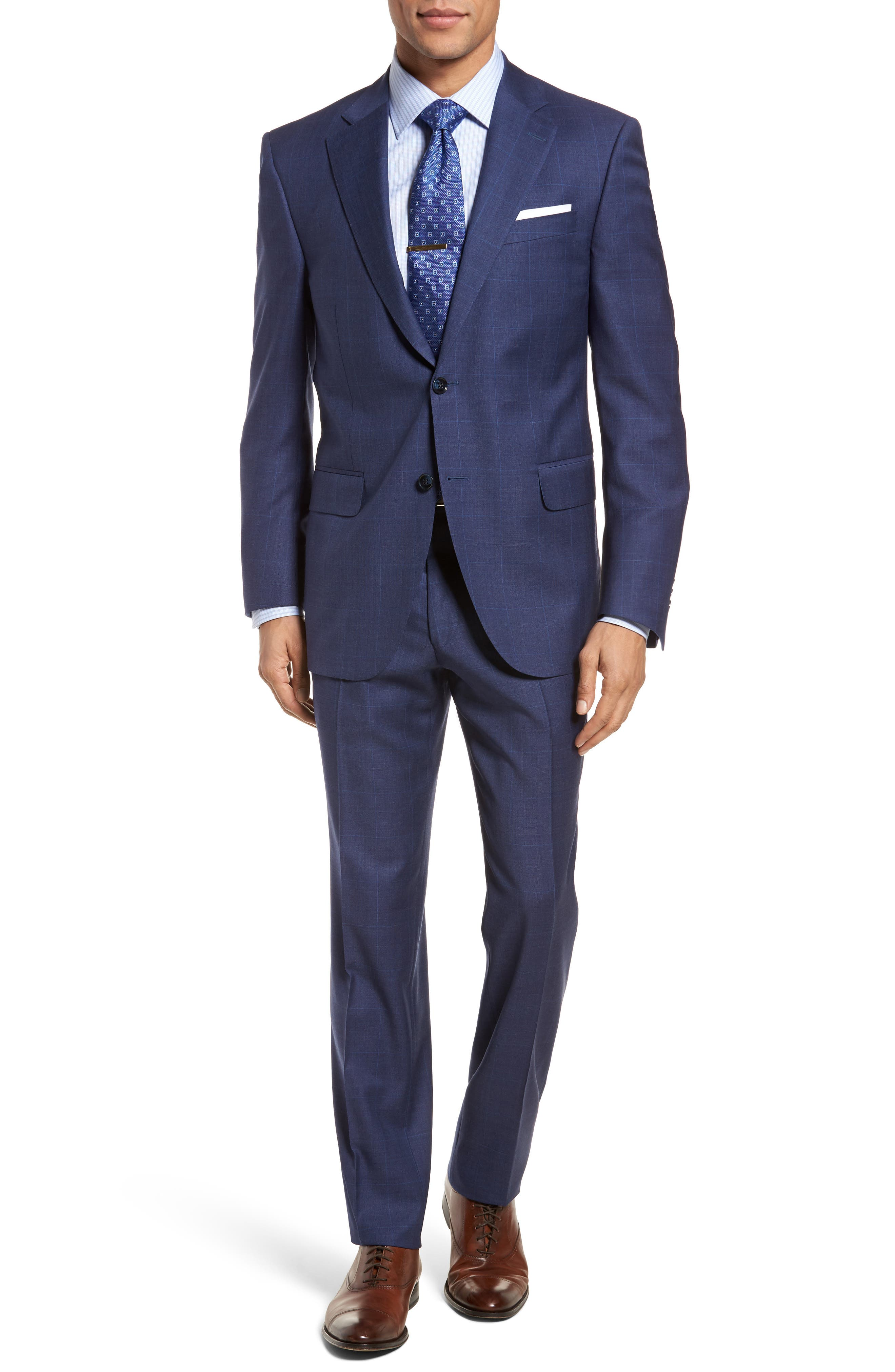 Classic Fit Plaid Wool Suit,                         Main,                         color, Blue