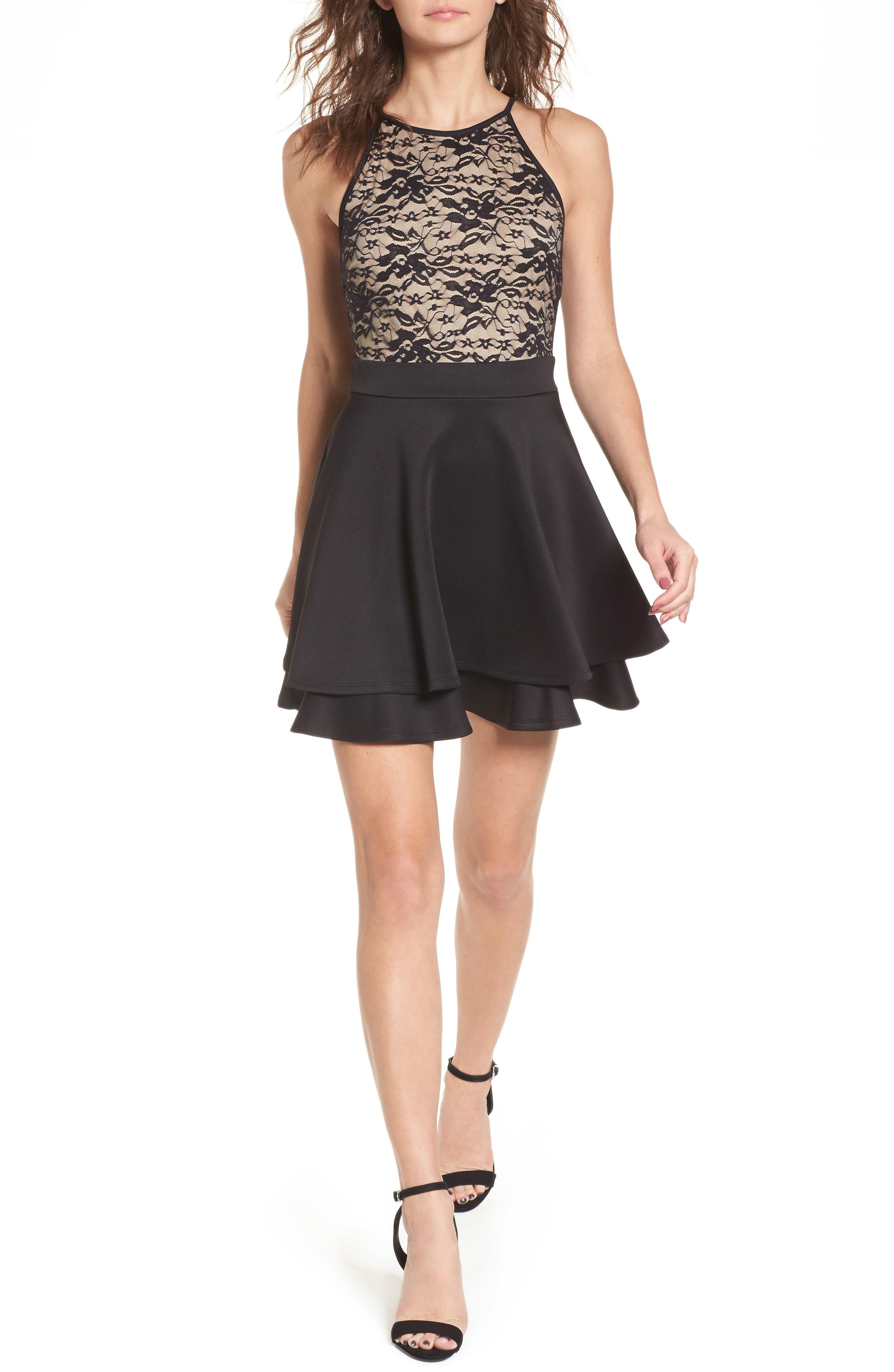 Love, Nicki Lace Fit & Flare Dress