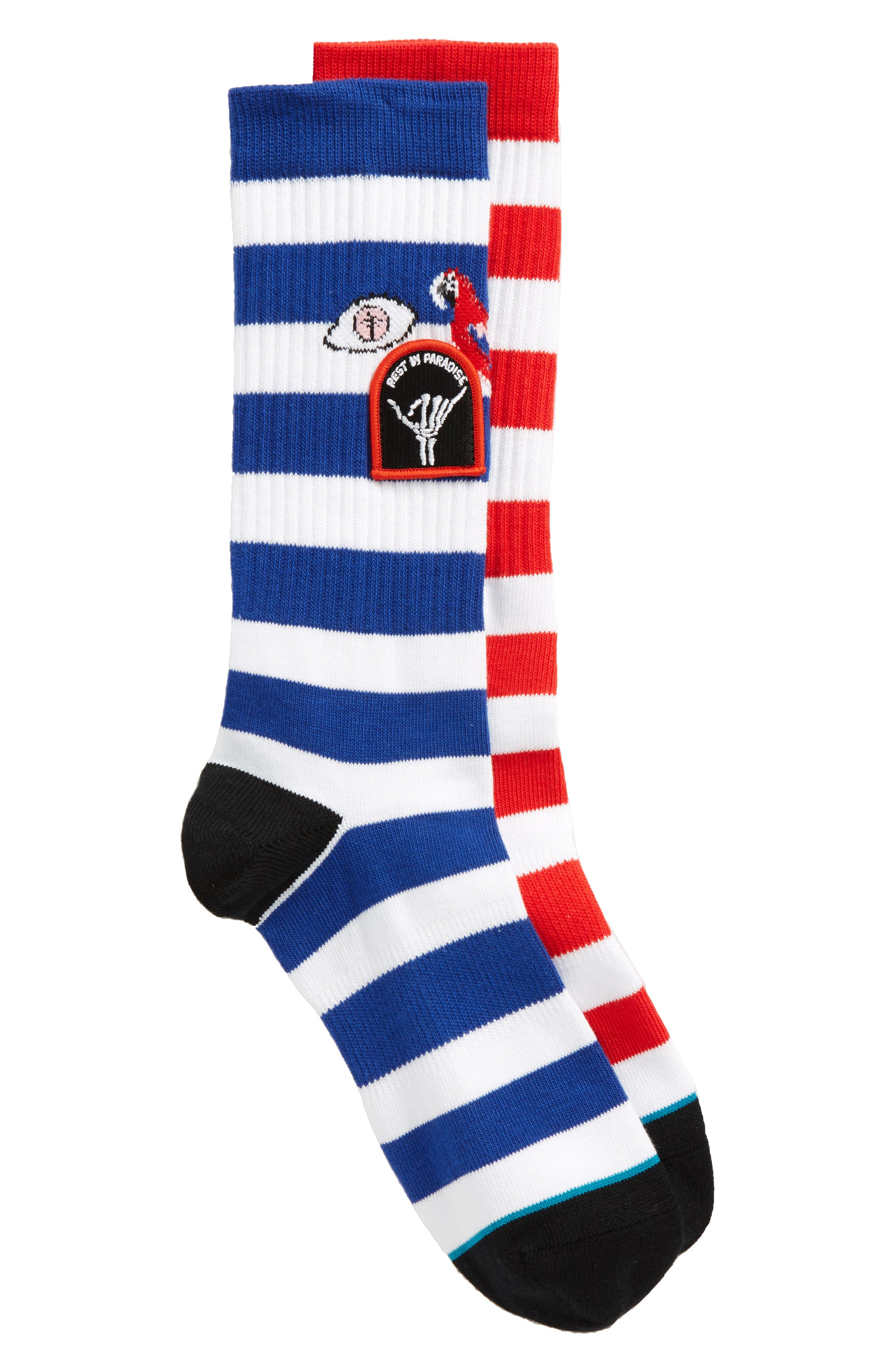 Staycation Stripe Socks,                         Main,                         color, Blue