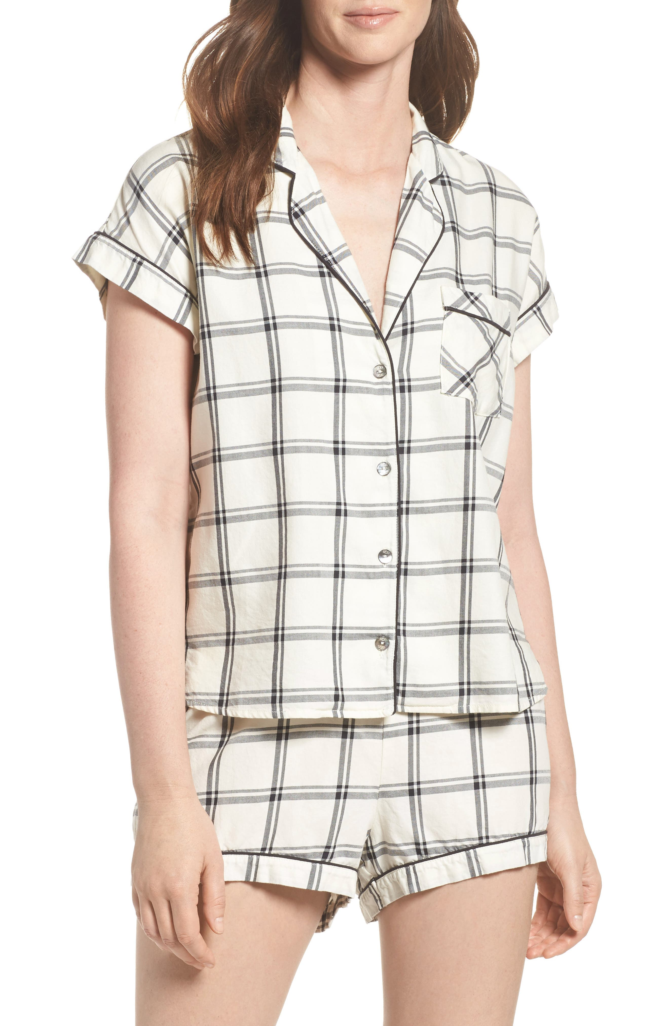 Amelia Short Pajamas,                             Main thumbnail 1, color,                             Cream/ Black