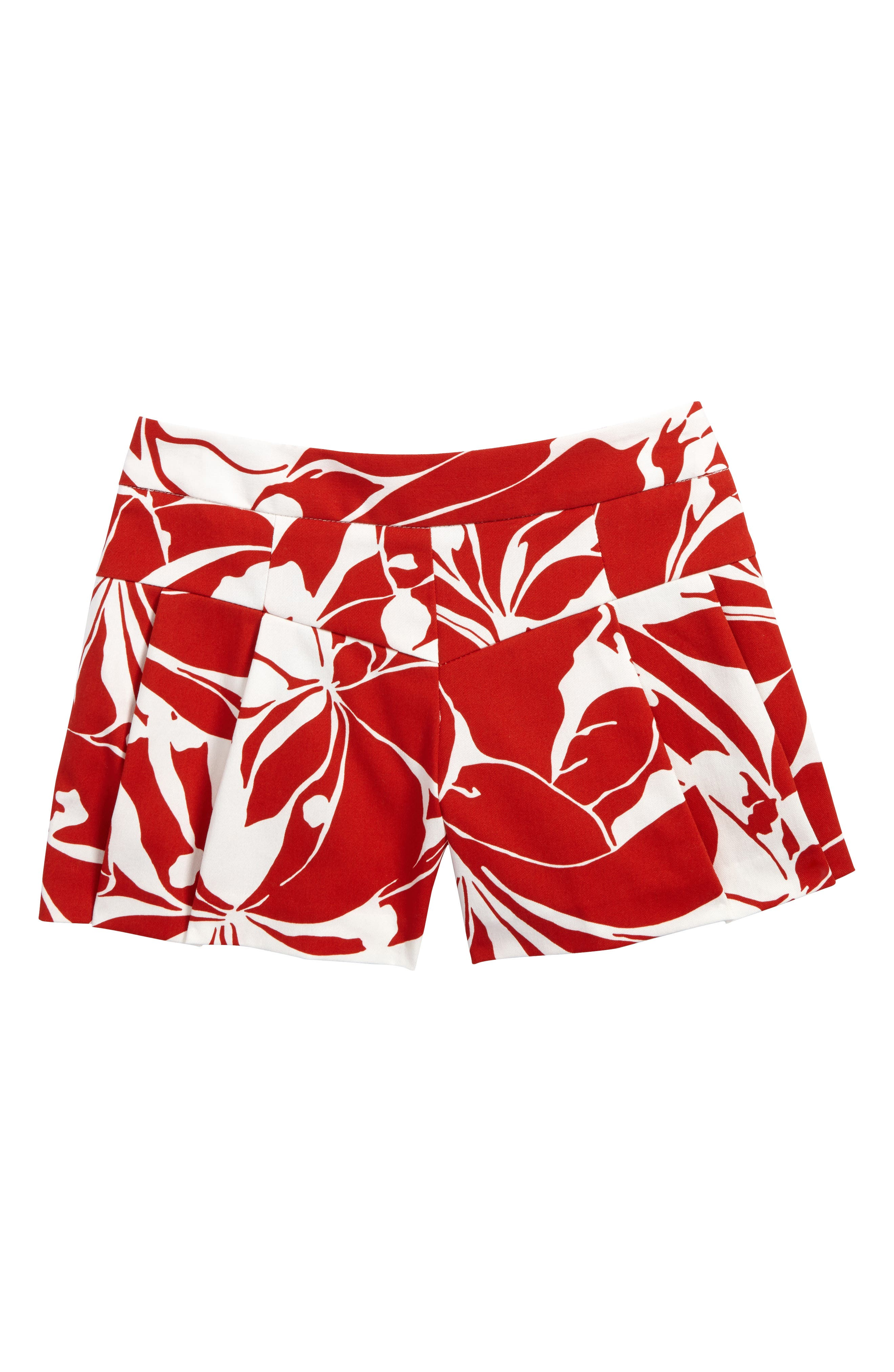 Pleated Shorts,                             Main thumbnail 1, color,                             Red/ White