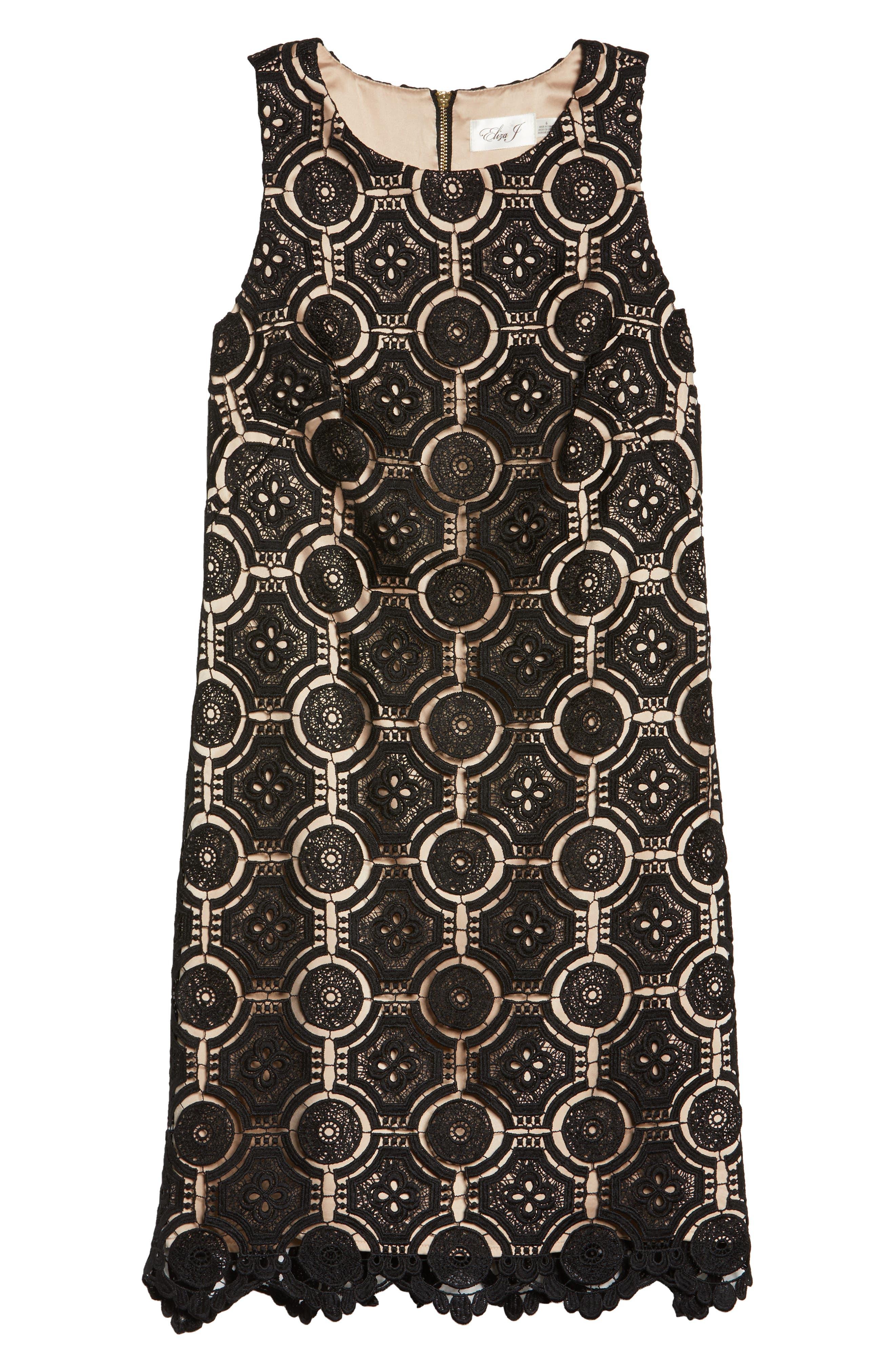 Lace Shift Dress,                             Alternate thumbnail 6, color,                             Black