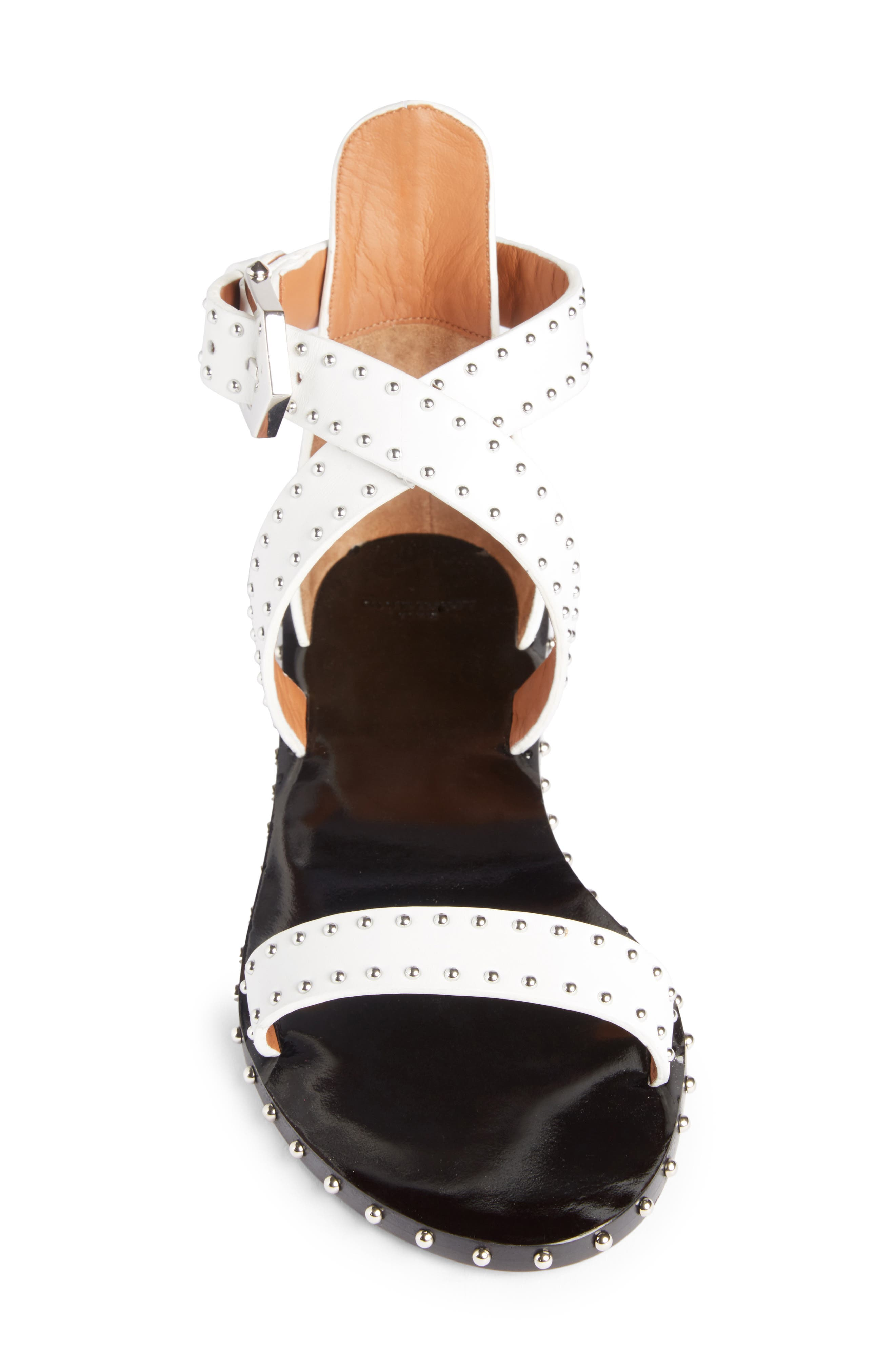 Elegant Strappy Studded Sandal,                             Alternate thumbnail 3, color,                             White