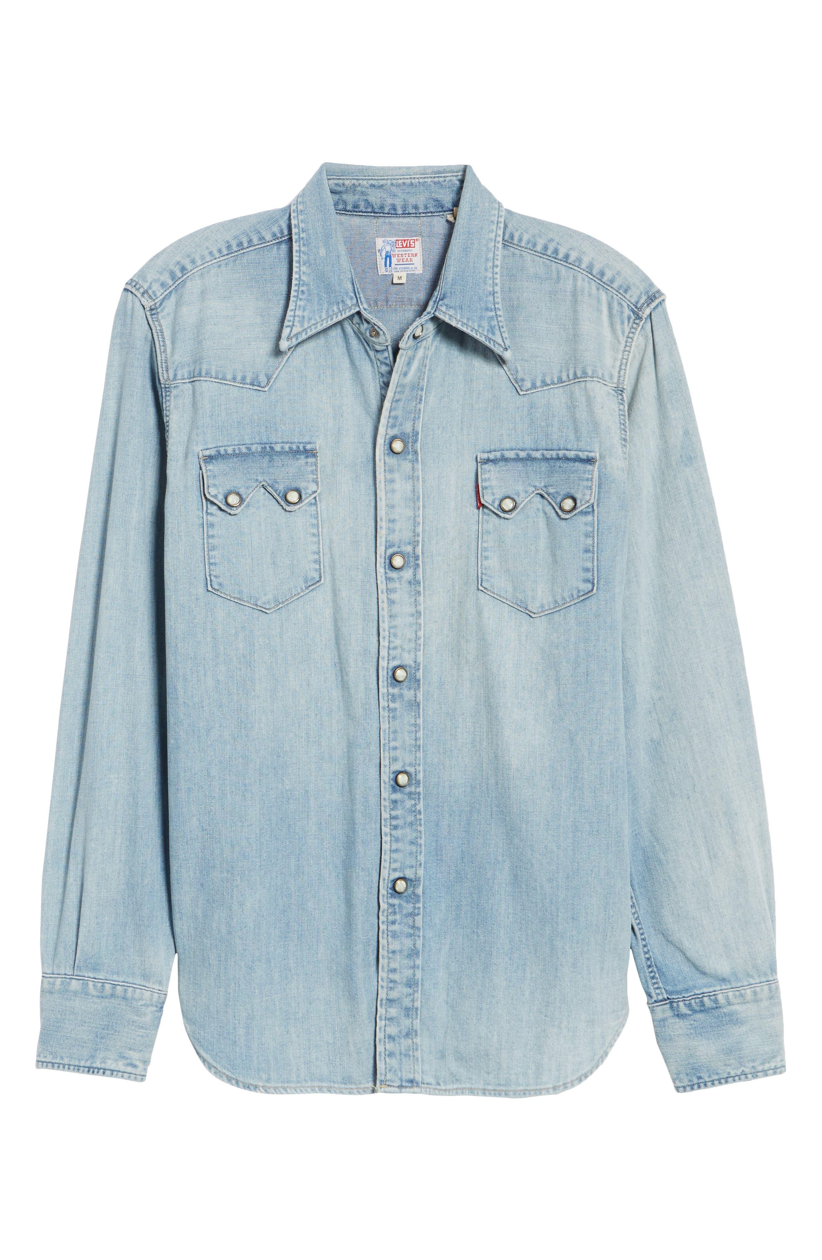1955 Sawtooth Trim Fit Denim Western Shirt,                             Alternate thumbnail 6, color,                             Blue