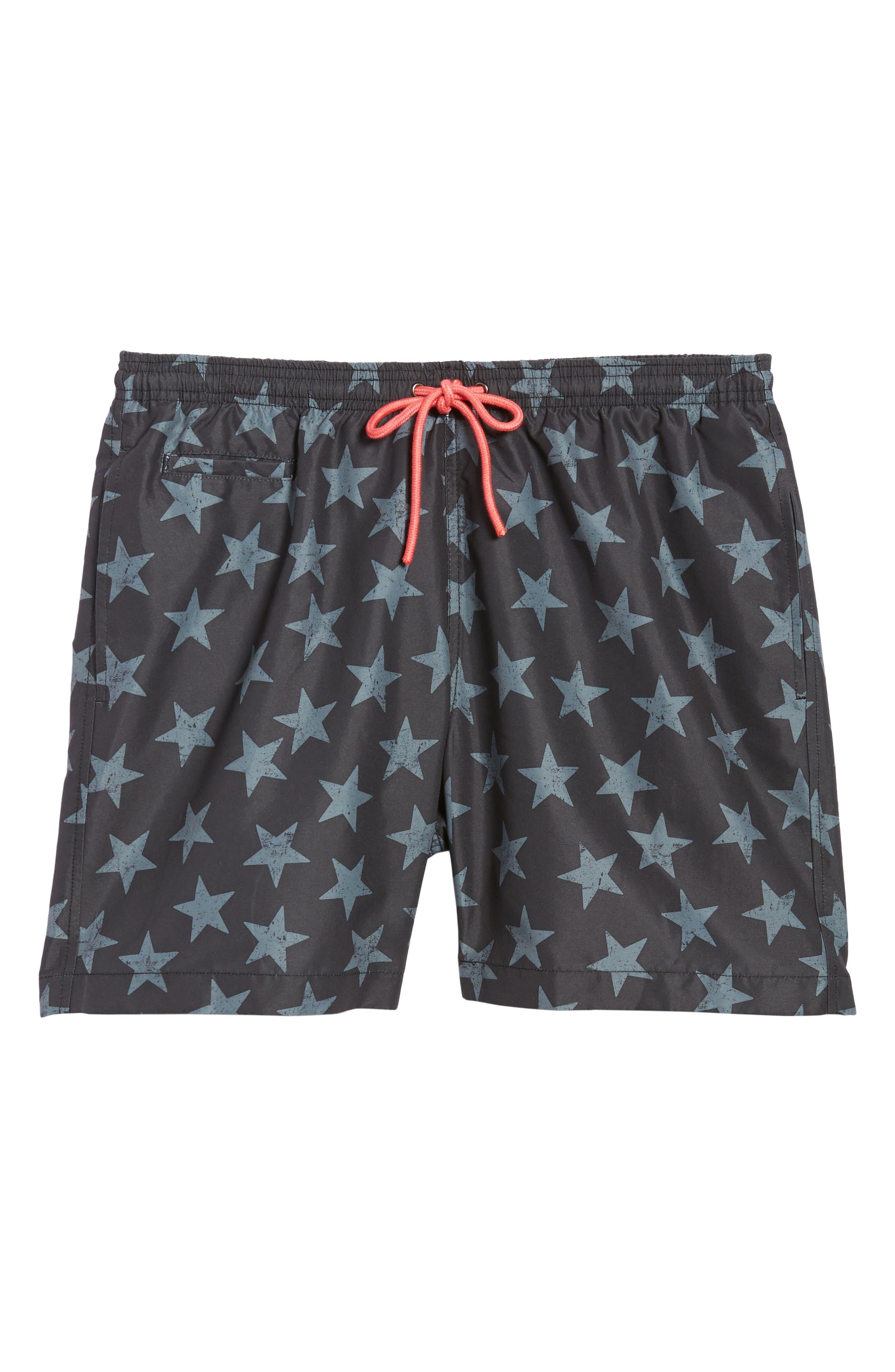 San O Stars Swim Trunks,                             Alternate thumbnail 6, color,                             Black/ Steel Grey