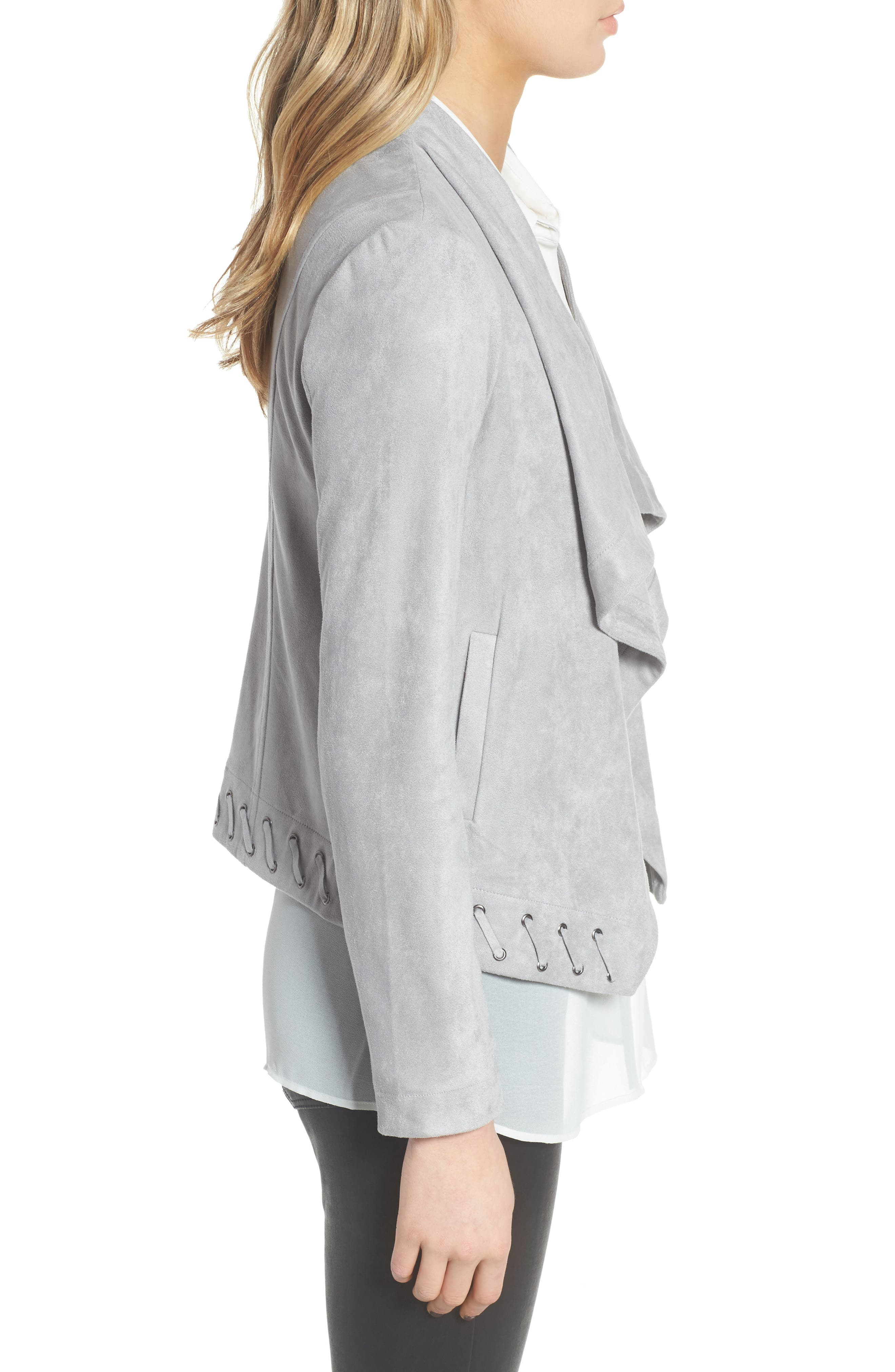 Arly Faux Suede Jacket,                             Alternate thumbnail 3, color,                             Stone Grey