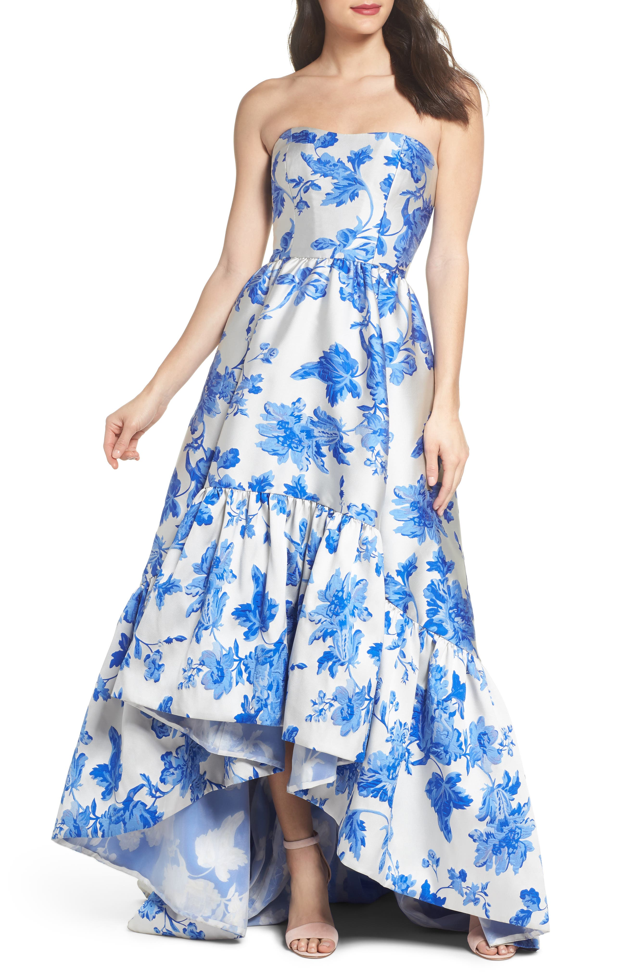 Mestiza Georgiana Floral High/Low Strapless Gown,                         Main,                         color, Porcelain Blue