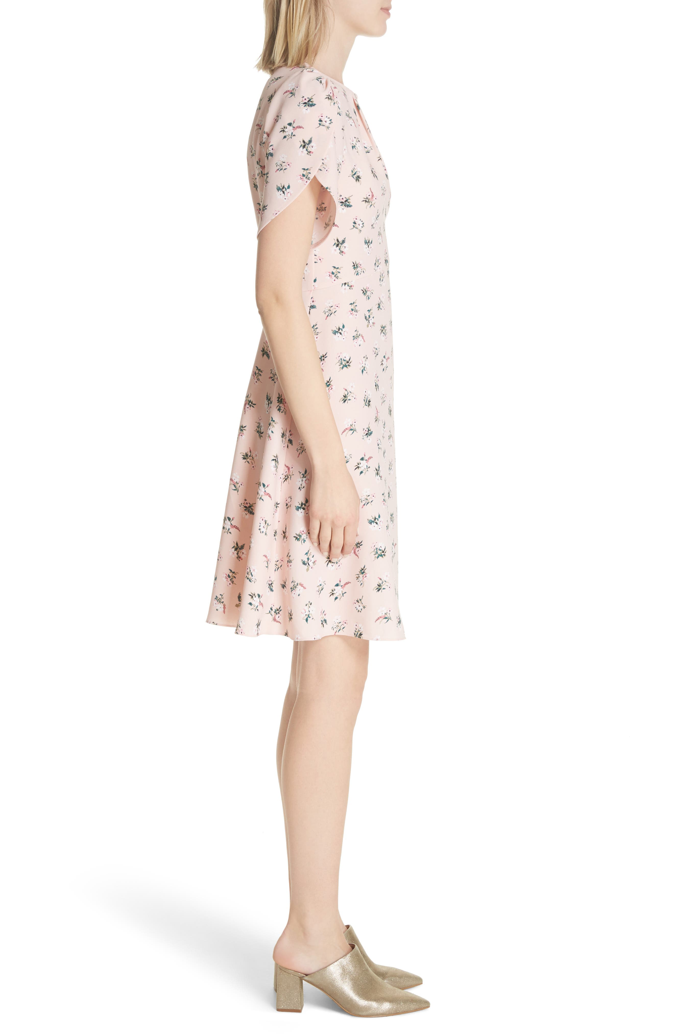 flora tulip sleeve dress,                             Alternate thumbnail 3, color,                             Cameo Pink