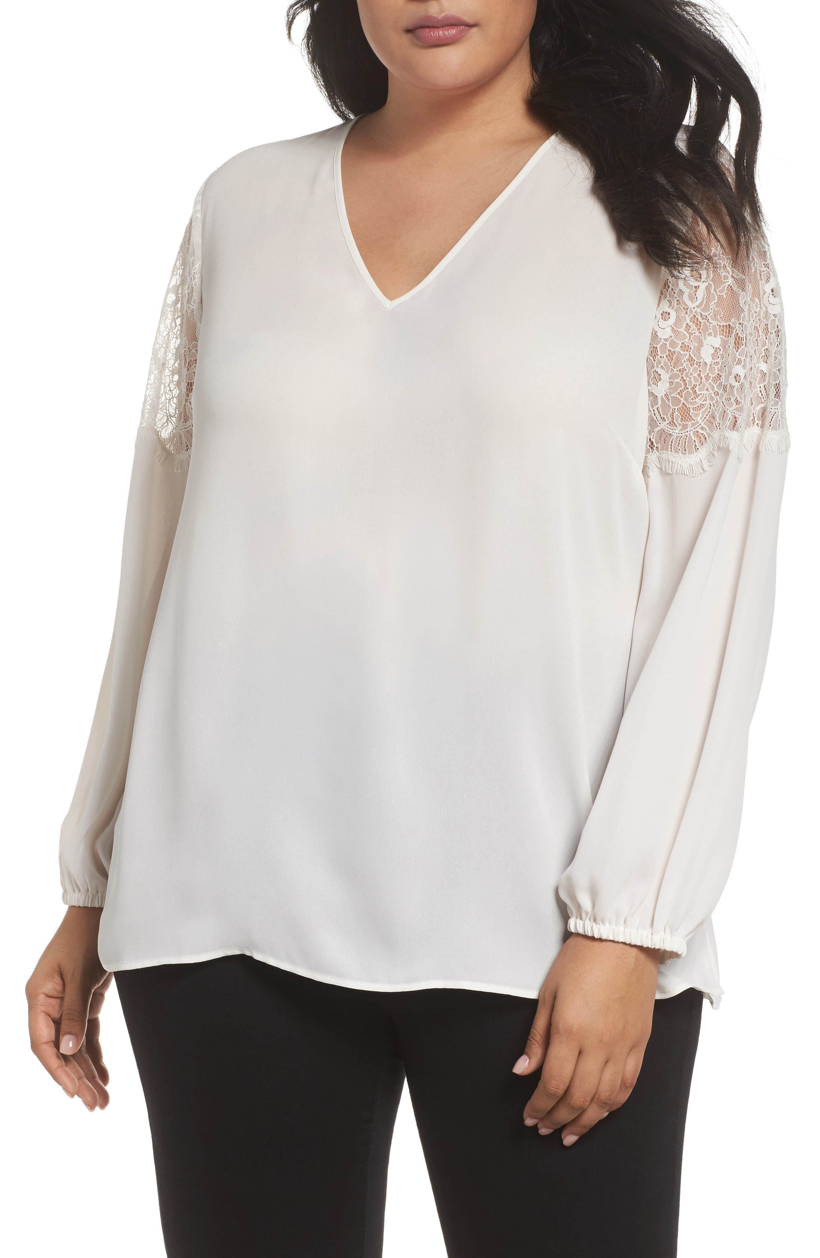 Lace Inset Sleeve Top,                         Main,                         color, Ivory Cloud