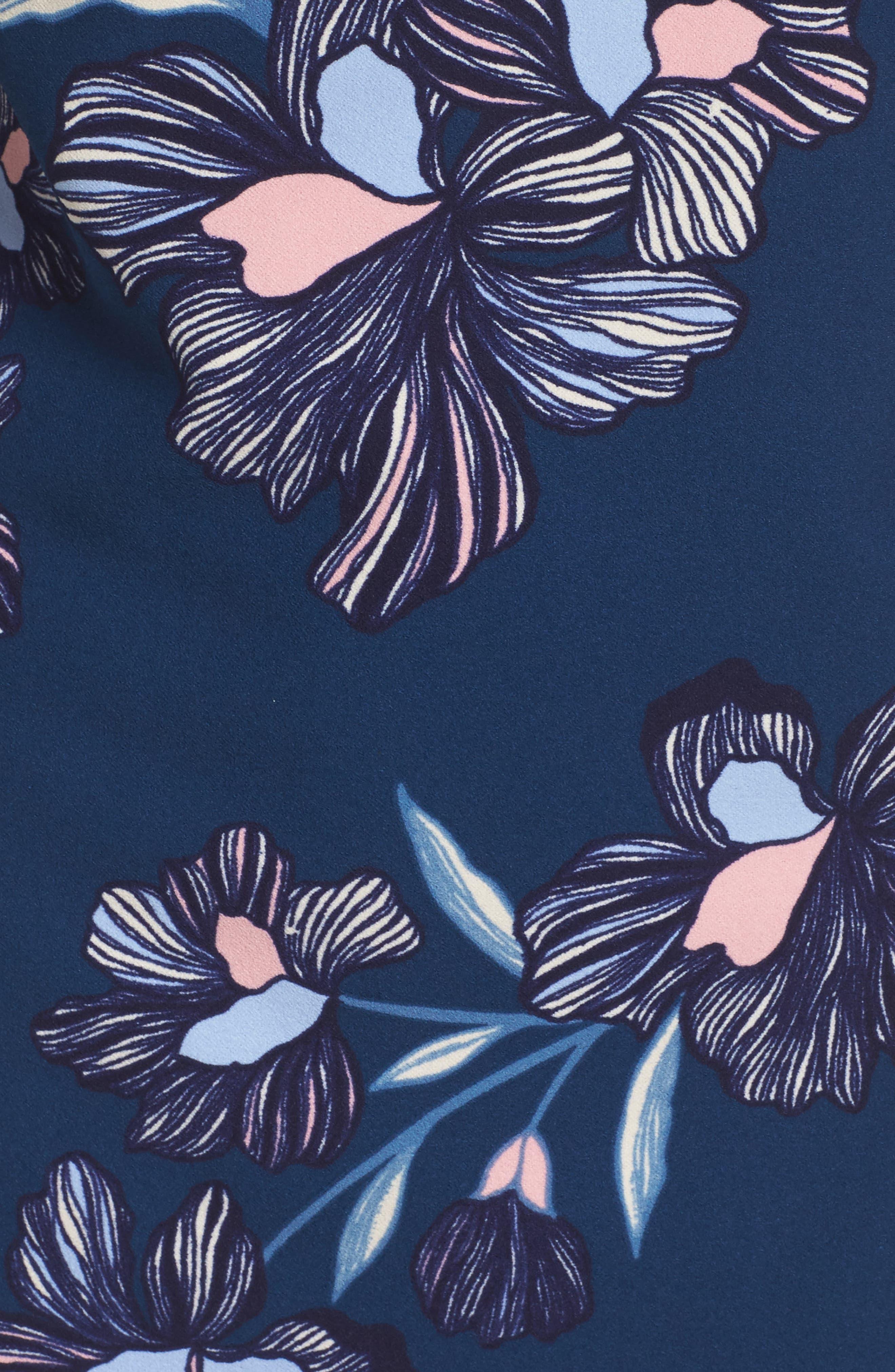 Floral Print Crepe Shift Dress,                             Alternate thumbnail 5, color,                             Navy Multi
