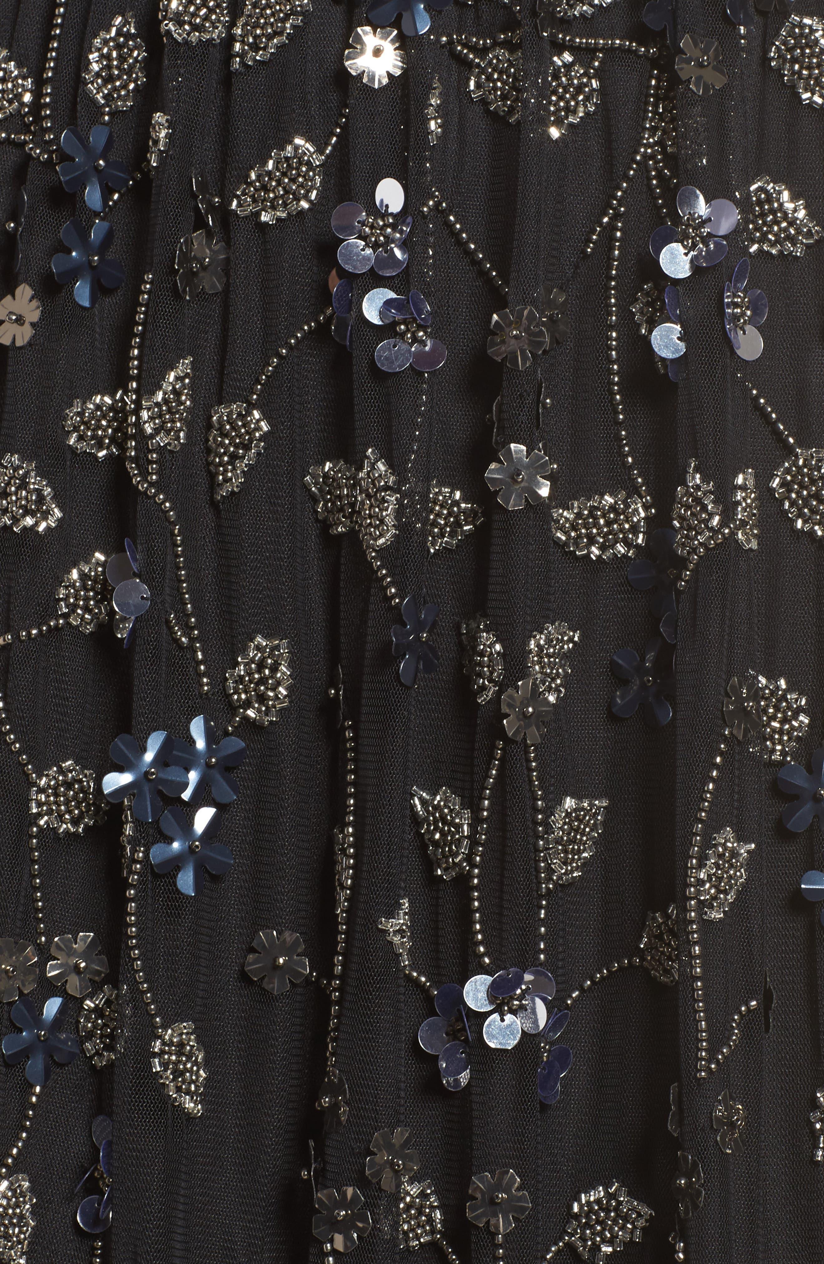 Beaded Cold Shoulder Gown,                             Alternate thumbnail 5, color,                             Black Multi