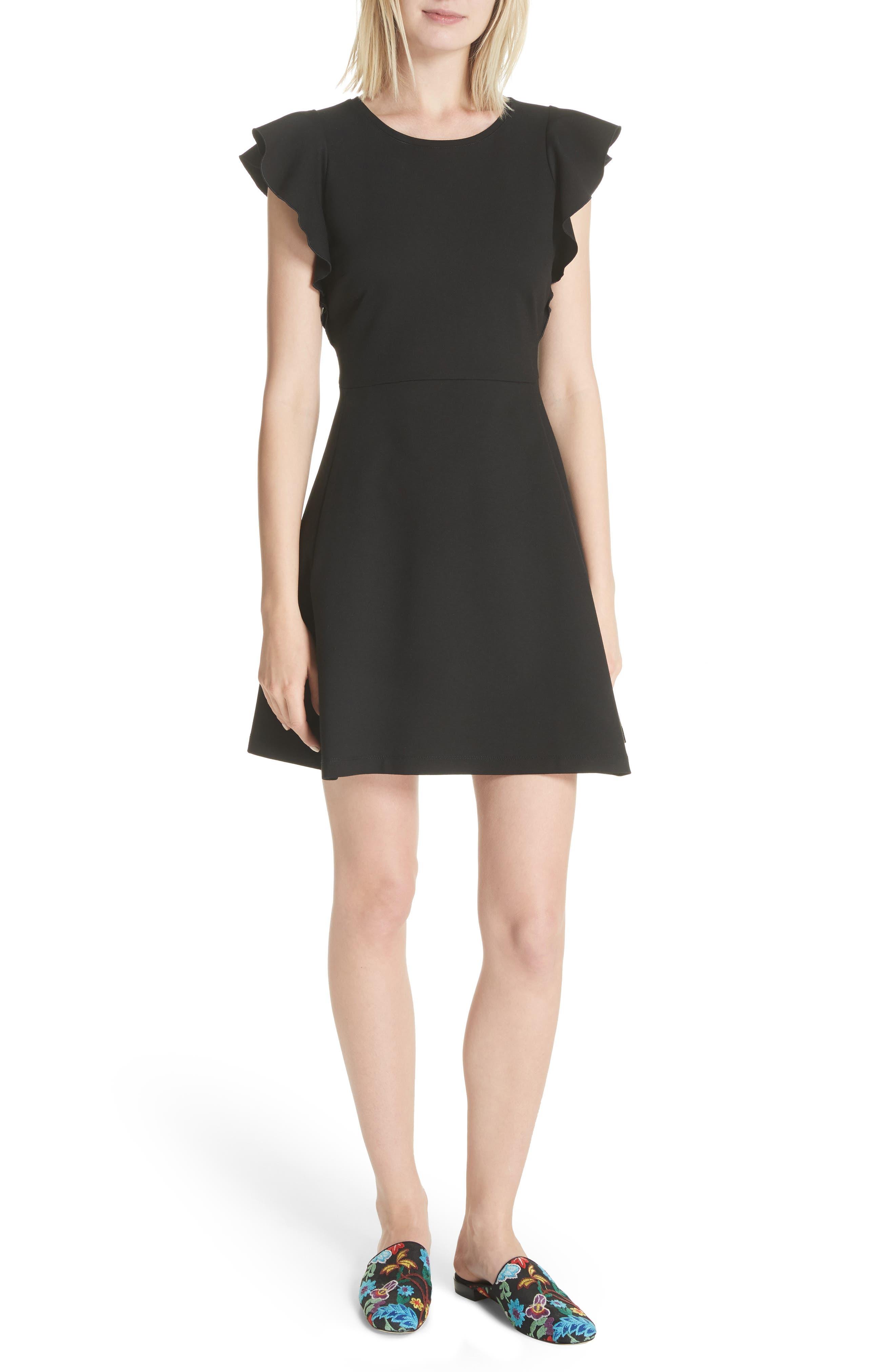 fluttter sleeve ponte knit dress,                         Main,                         color, Black