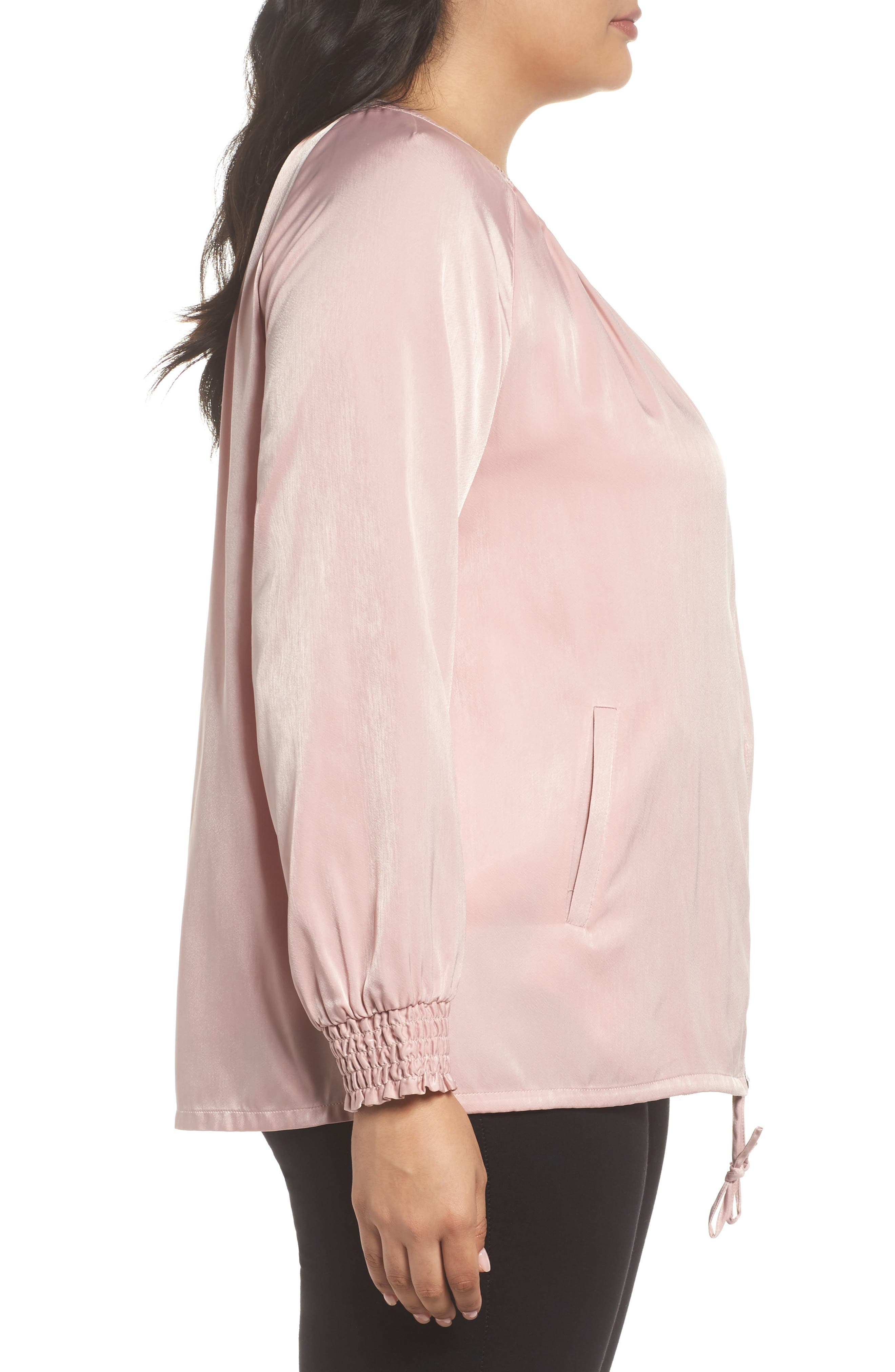 Swing Back Satin Bomber Jacket,                             Alternate thumbnail 3, color,                             Pink Puff