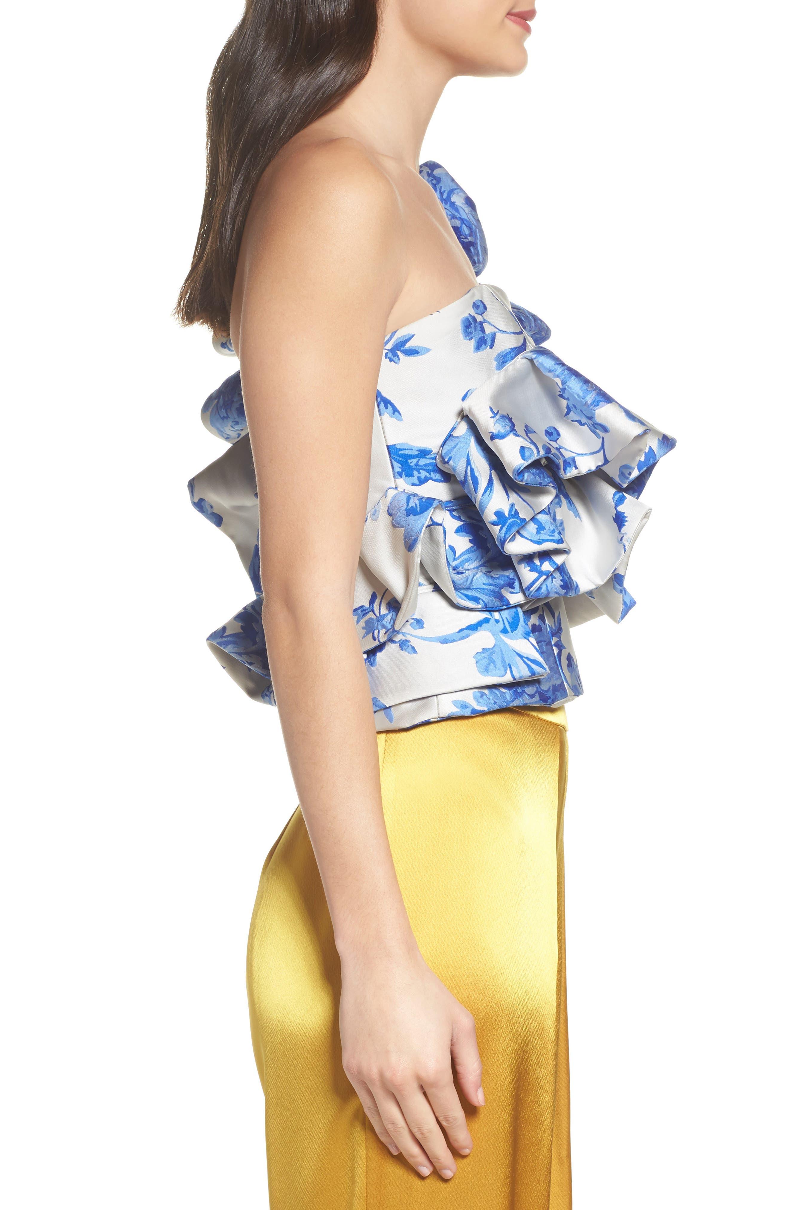 Mestiza Katalina Floral Ruffle One-Shoulder Top,                             Alternate thumbnail 3, color,                             Porcelain Blue