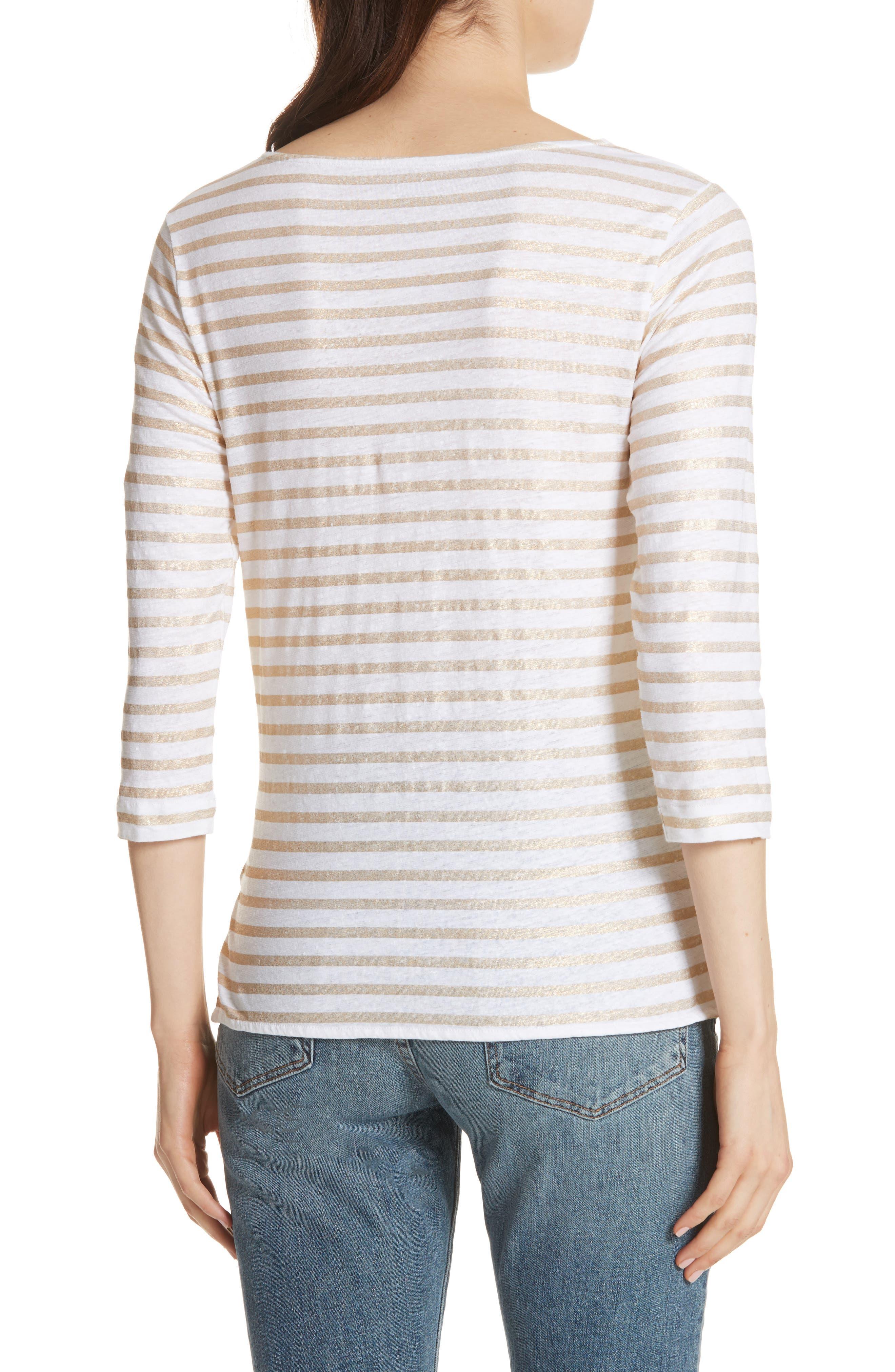 Linen Stretch Stripe Top,                             Alternate thumbnail 2, color,                             Blanc/ Gold Metal Stripe