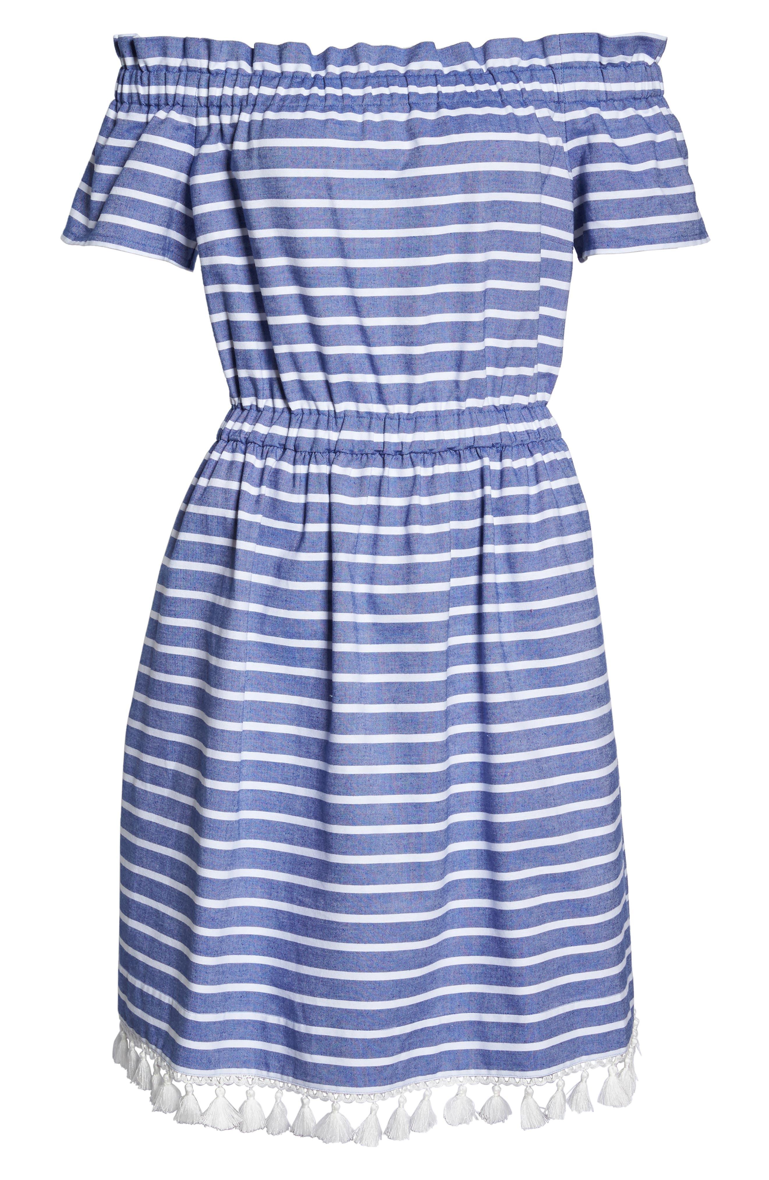 Stripe Off the Shoulder Dress,                             Alternate thumbnail 6, color,                             Navy/ Ivory