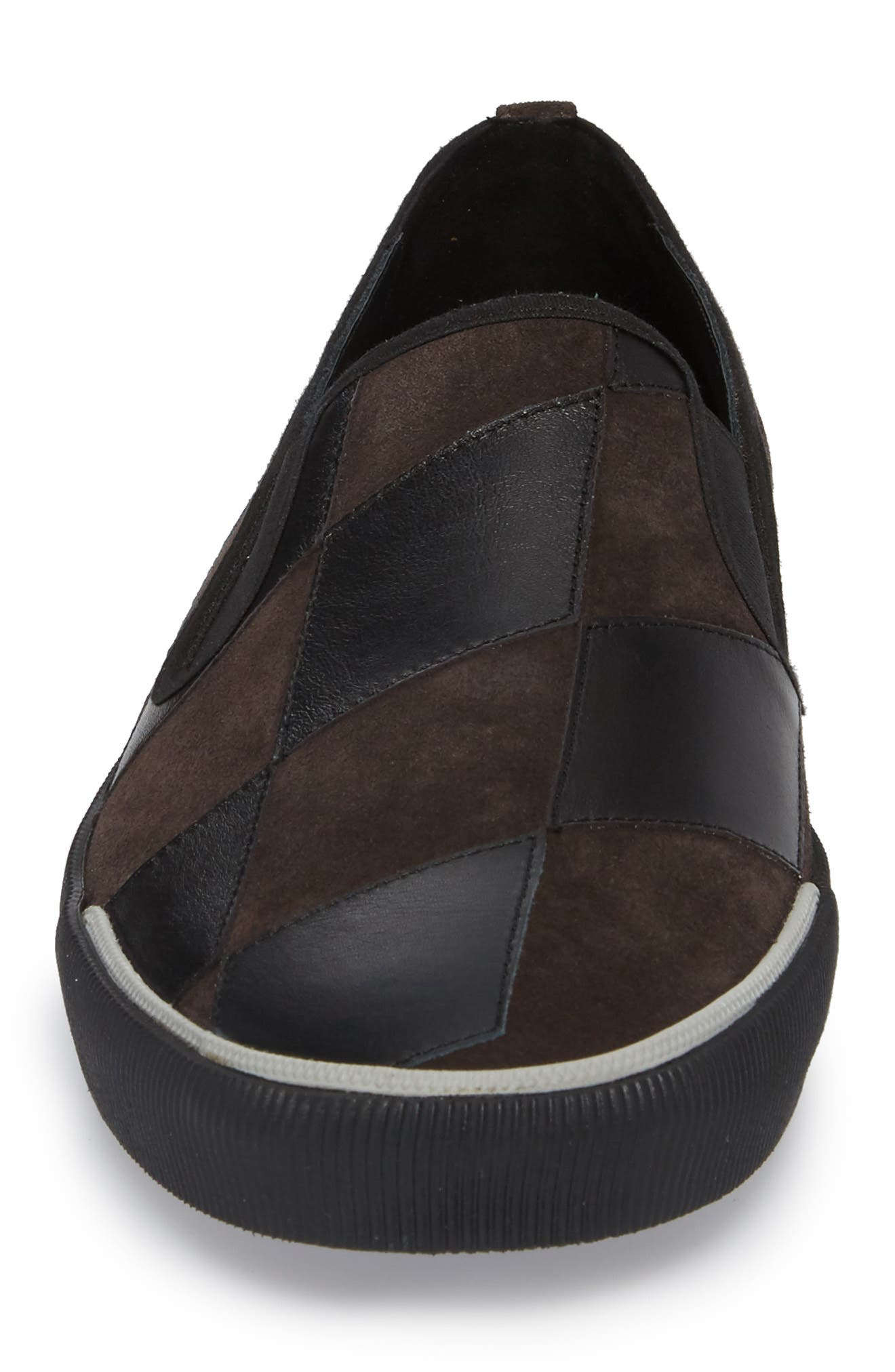 Diamond Patchwork Slip-On Sneaker,                             Alternate thumbnail 4, color,                             Taupe/ Black Leather/ Suede