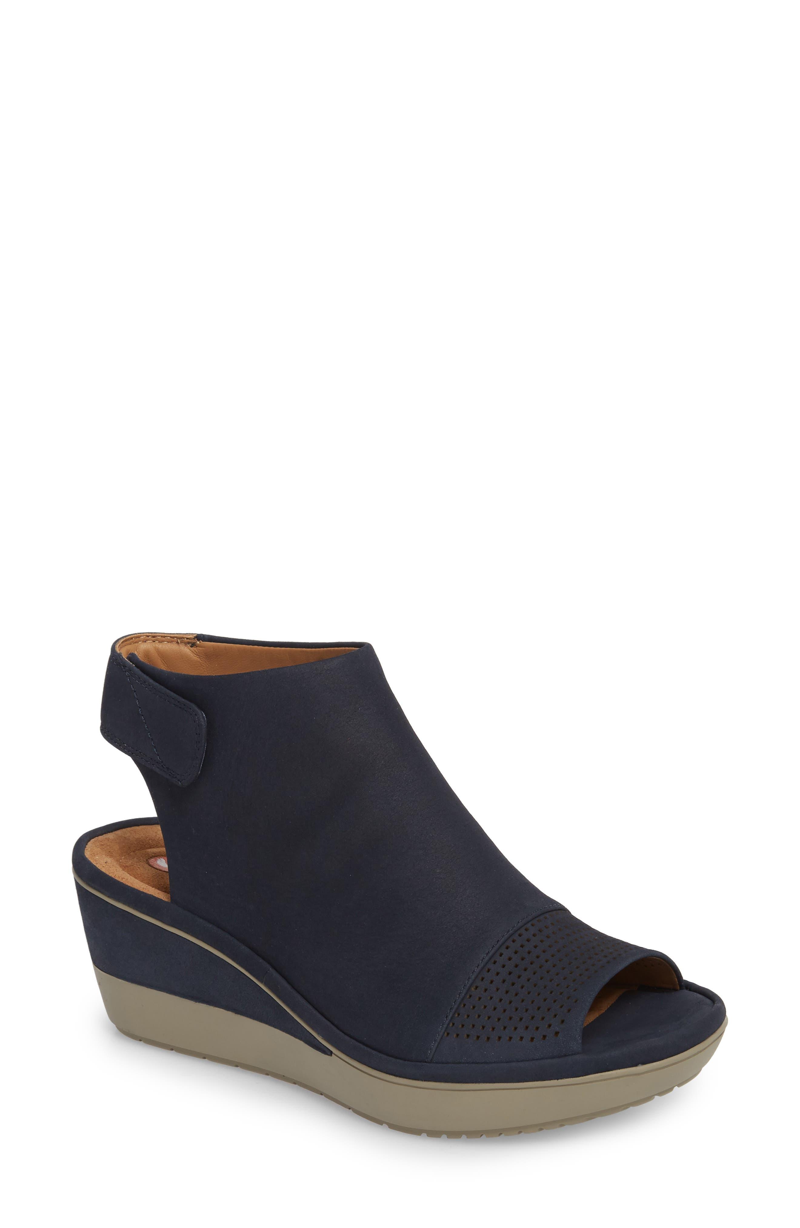 Wynnmere Abie Wedge Sandal,                         Main,                         color, Navy Nubuck