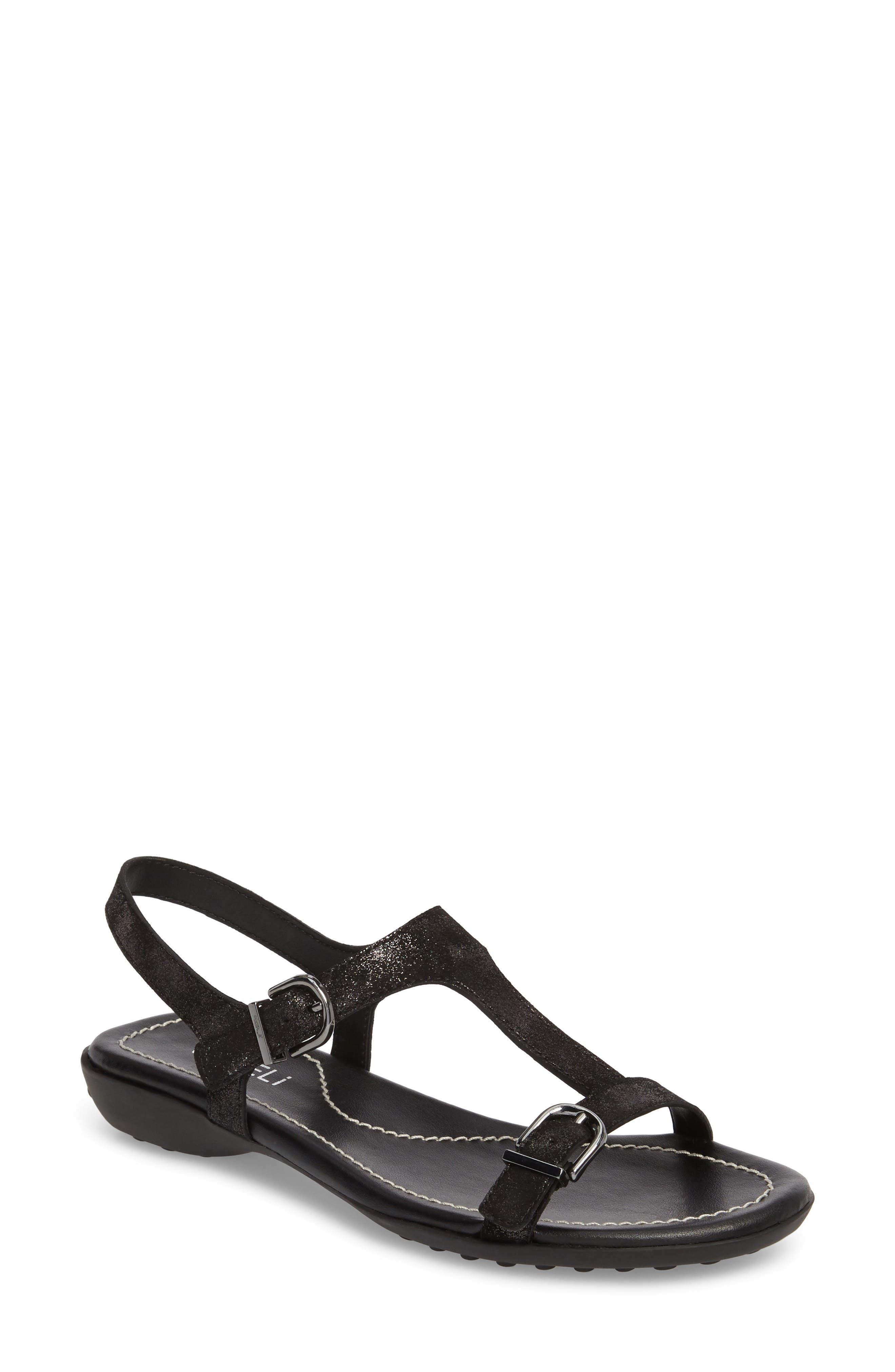 Taletha T-Strap Sandal, Main, color, Black Printed Suede