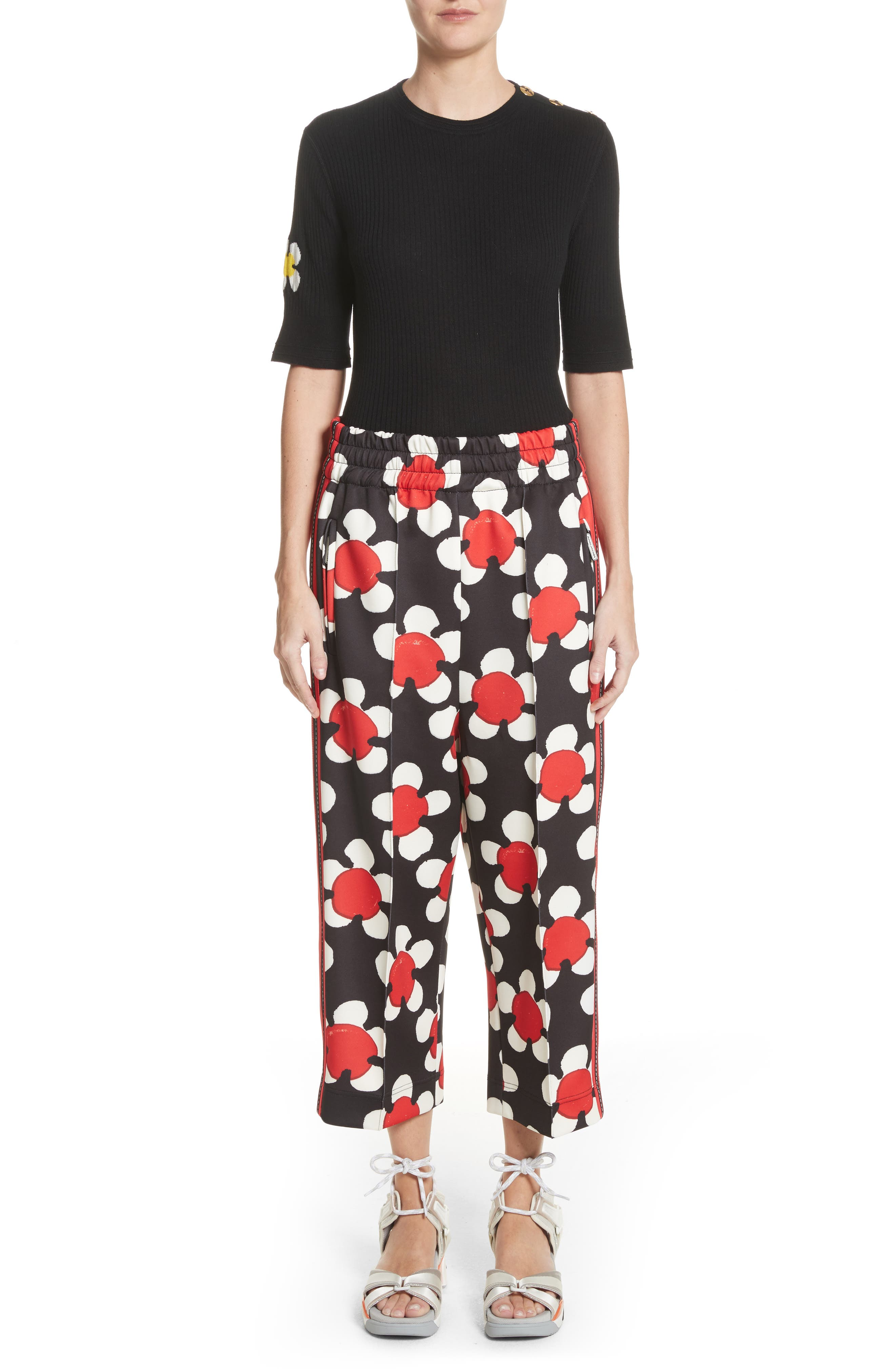 Floral Print Crop Track Pants,                             Alternate thumbnail 8, color,                             Red Multi