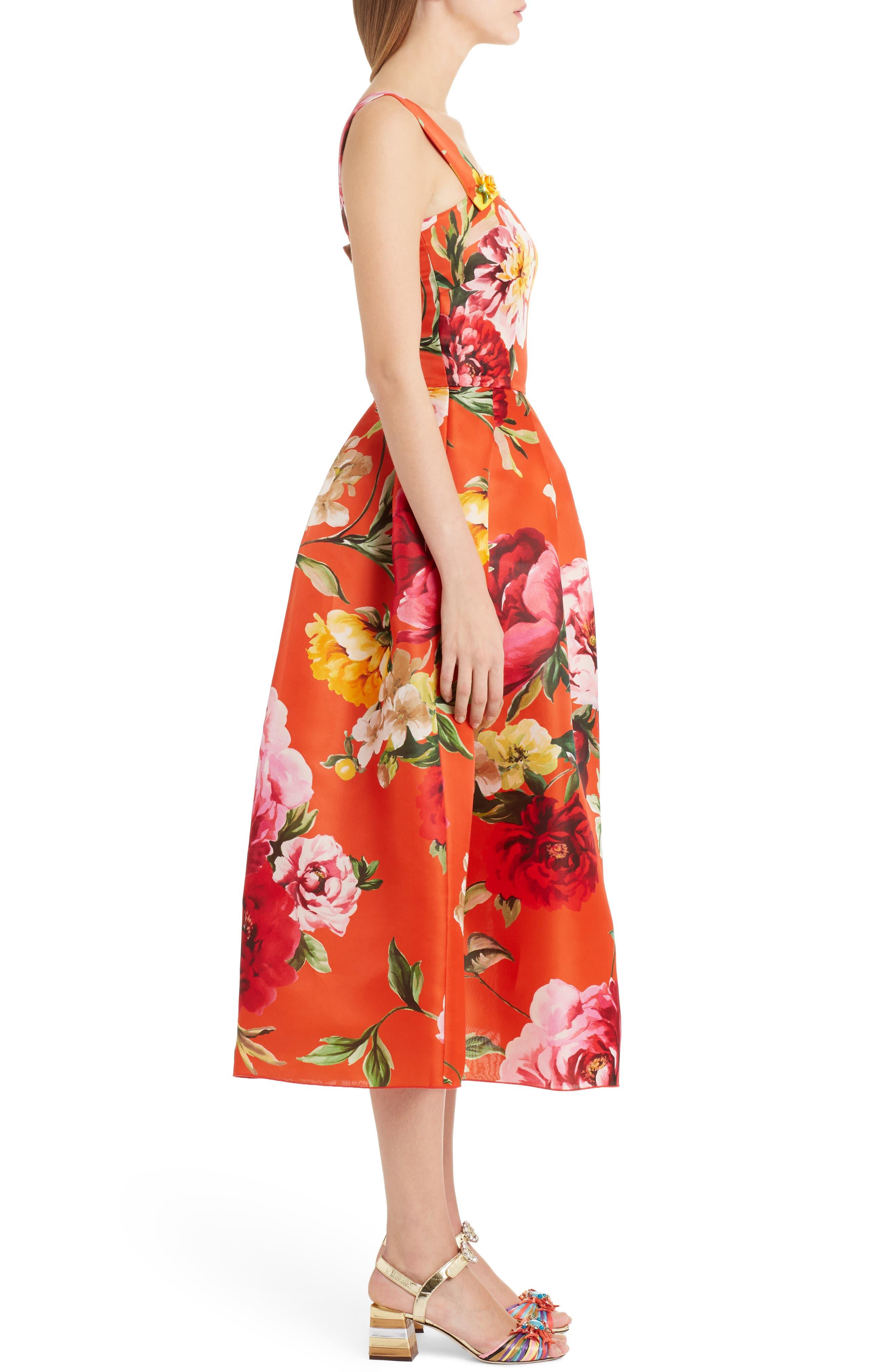 Floral Print Silk Organza Tea Length Dress,                             Alternate thumbnail 3, color,                             Orange