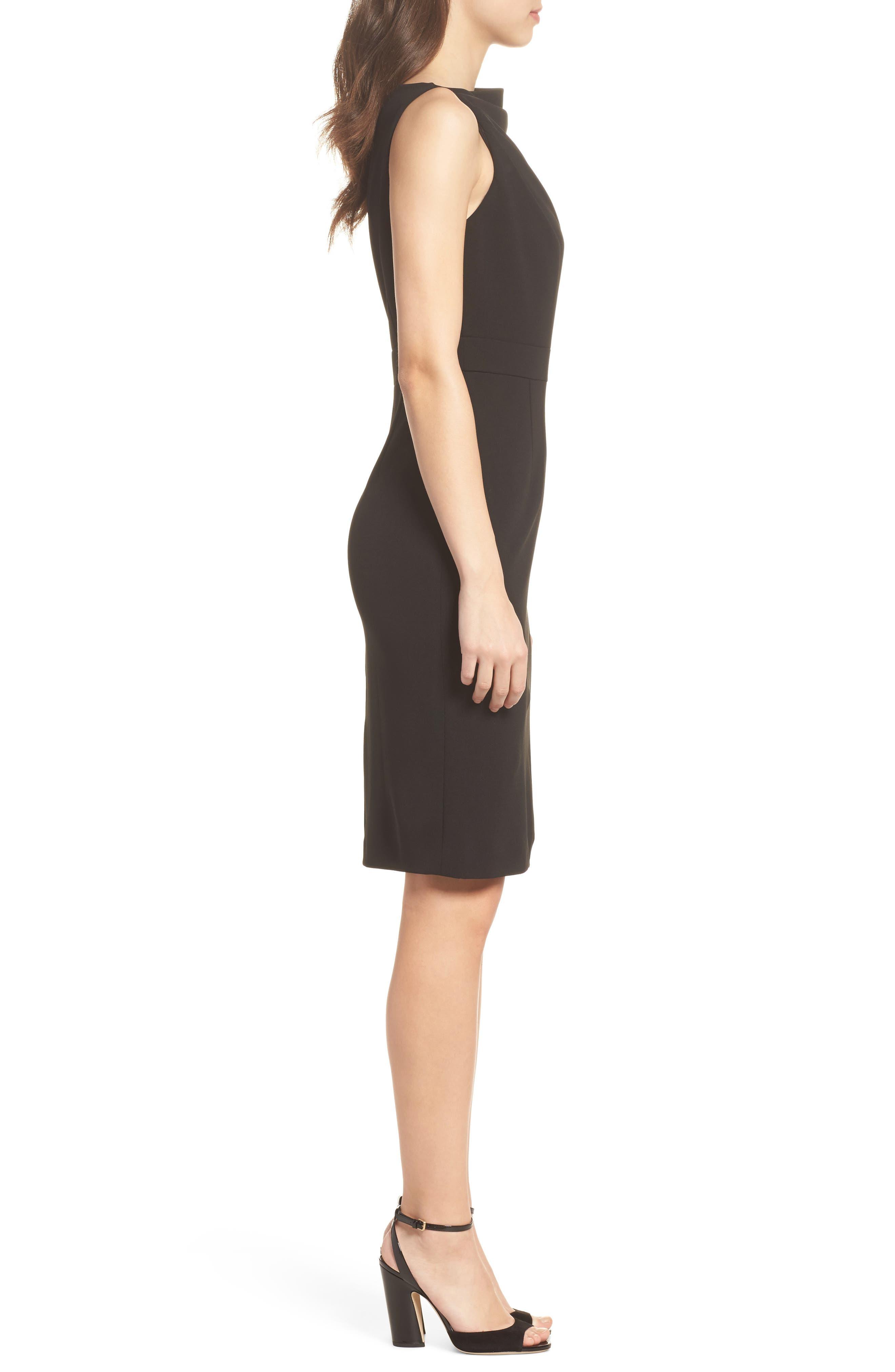 High Neck Sheath Dress,                             Alternate thumbnail 3, color,                             Black