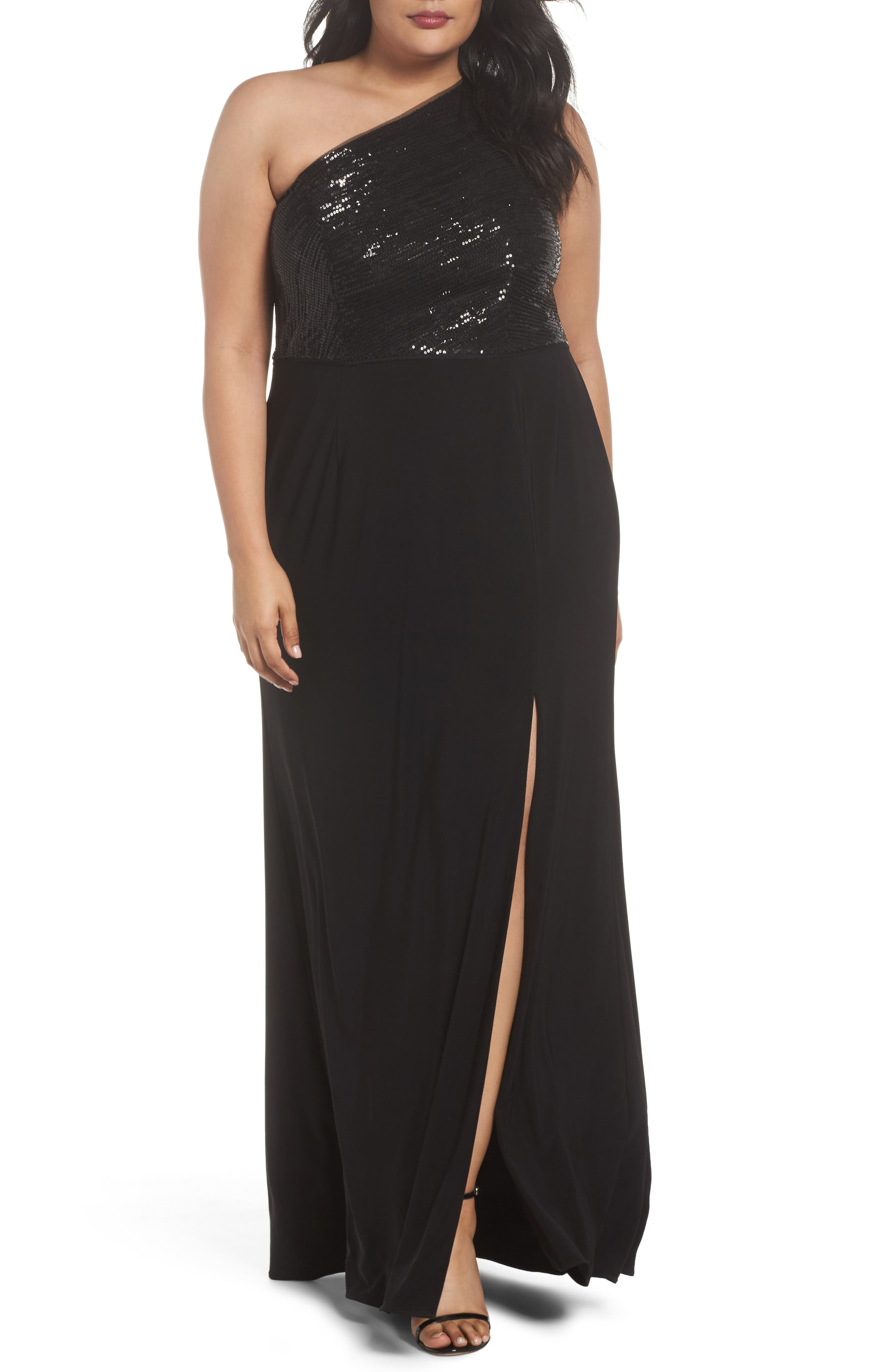 Sequin & Jersey One-Shoulder Gown,                             Main thumbnail 1, color,                             Black